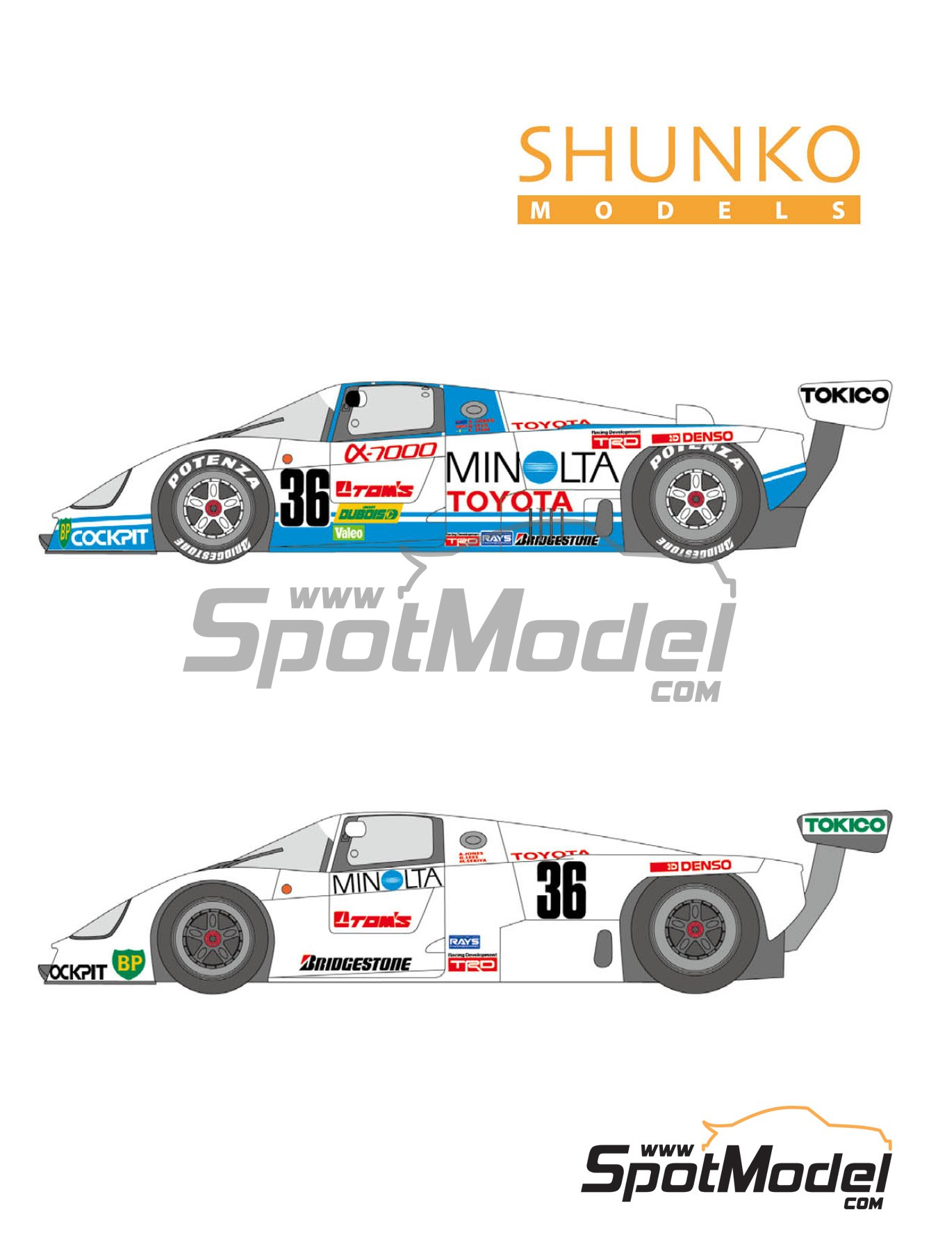 Toyota 88C Minolta - 24 Hours Le Mans 1987 | Marking / livery in 1/24 scale manufactured by Shunko Models (ref. SHK-D351) image