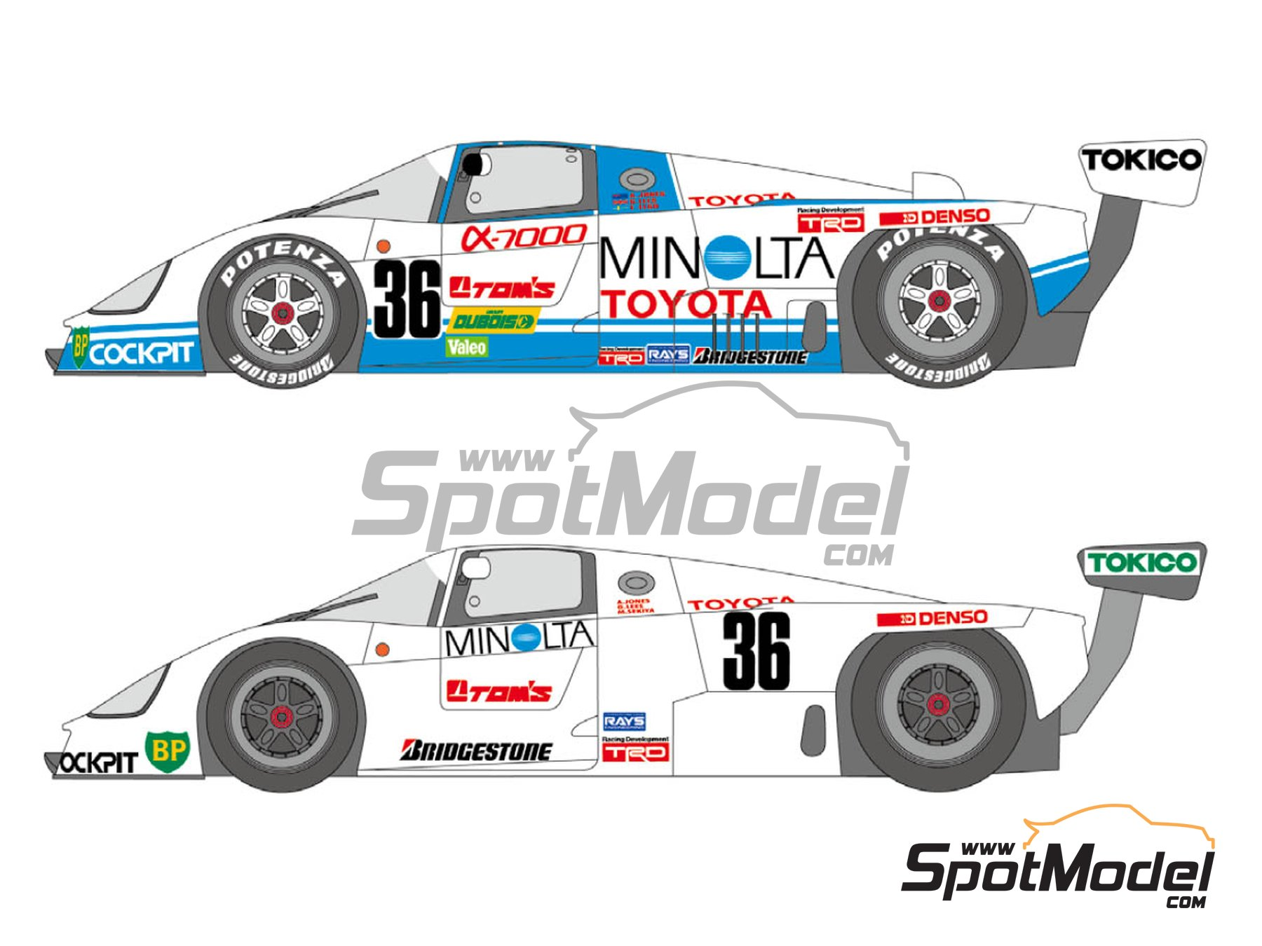 Image 1: Toyota 88C Minolta - 24 Hours Le Mans 1987   Marking / livery in 1/24 scale manufactured by Shunko Models (ref.SHK-D351)