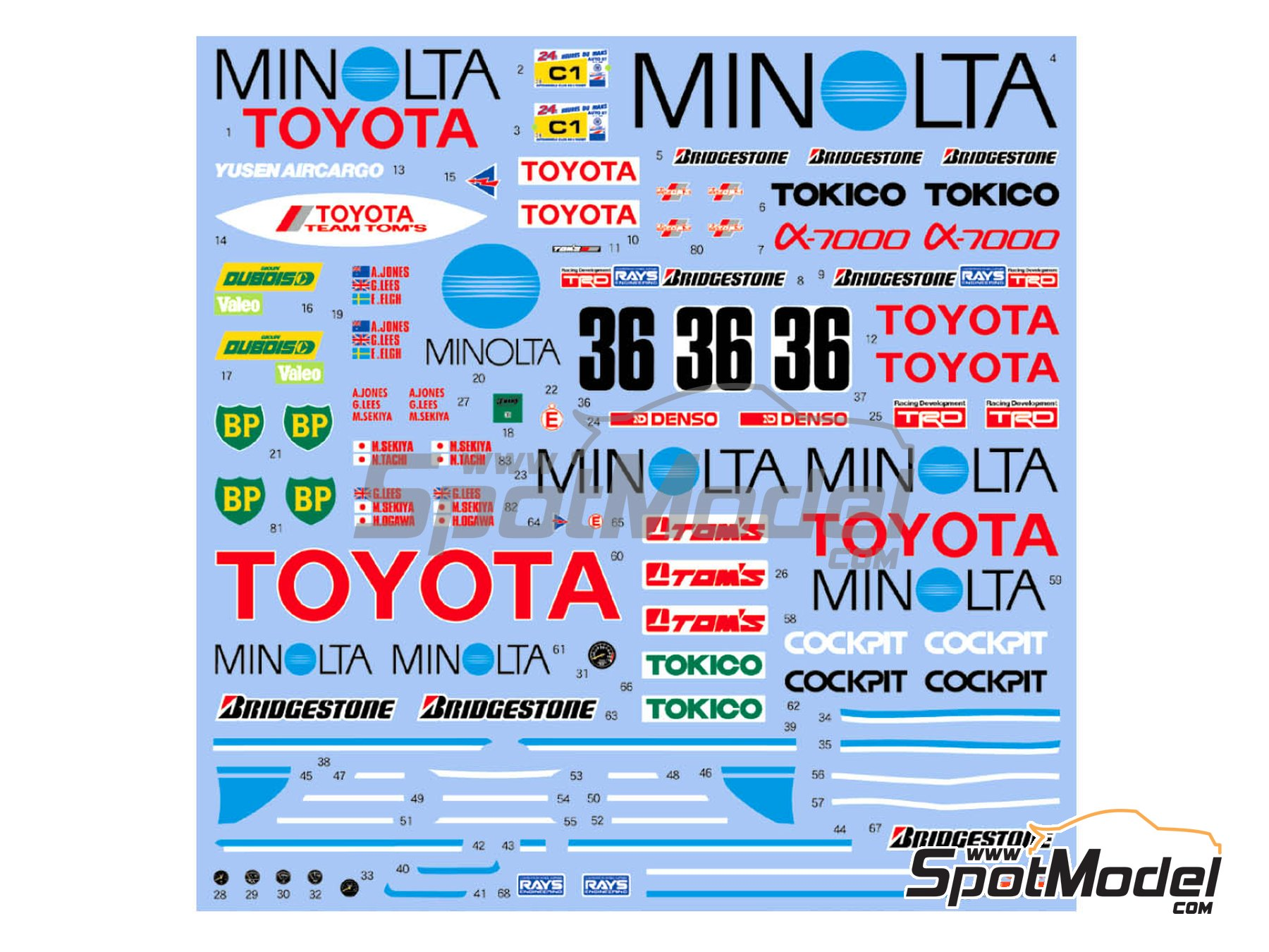 Image 2: Toyota 88C Minolta - 24 Hours Le Mans 1987   Marking / livery in 1/24 scale manufactured by Shunko Models (ref.SHK-D351)