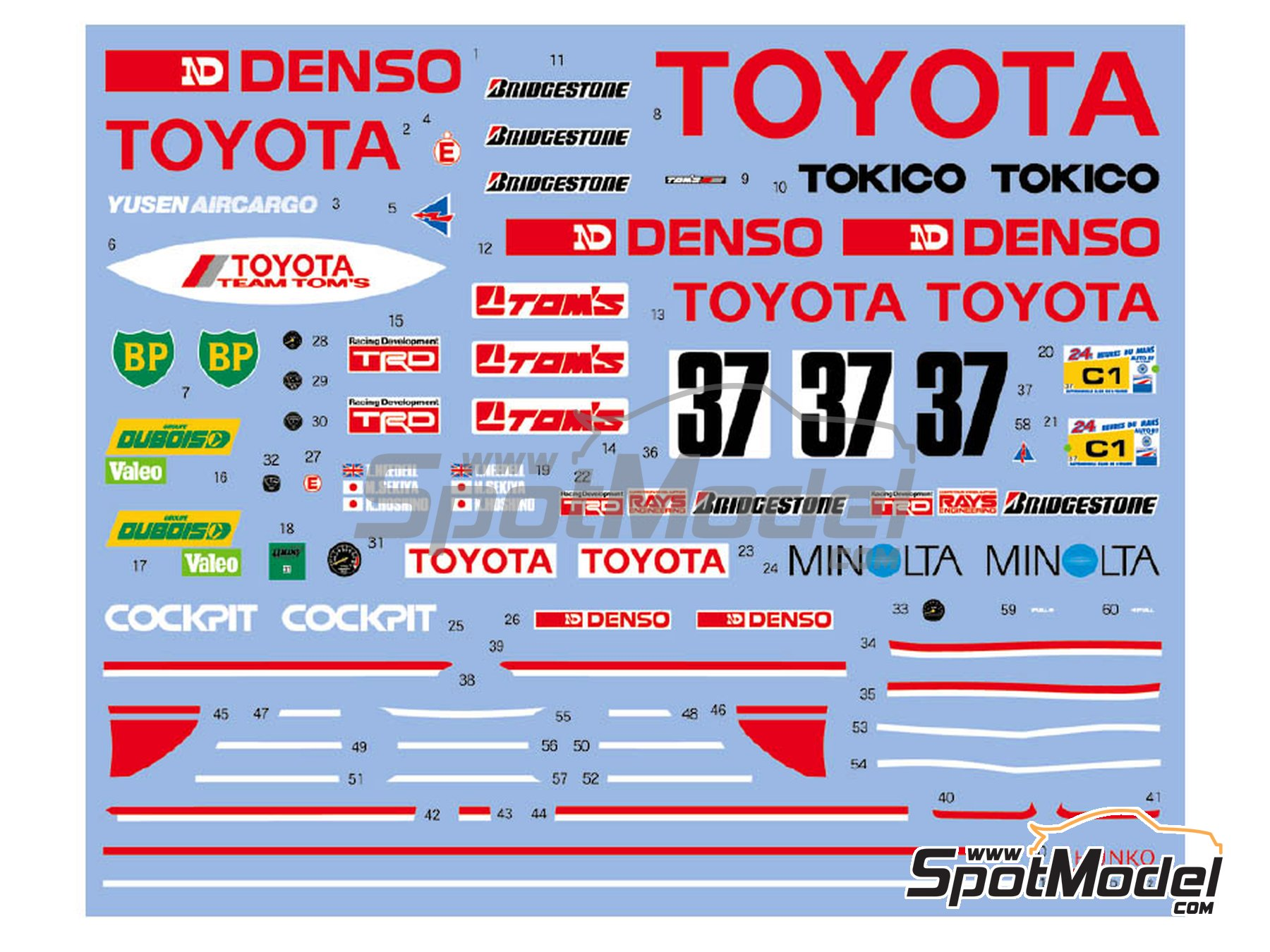 Image 2: Toyota 87C Denso - 24 Hours Le Mans 1987 | Marking / livery in 1/24 scale manufactured by Shunko Models (ref. SHK-D352)