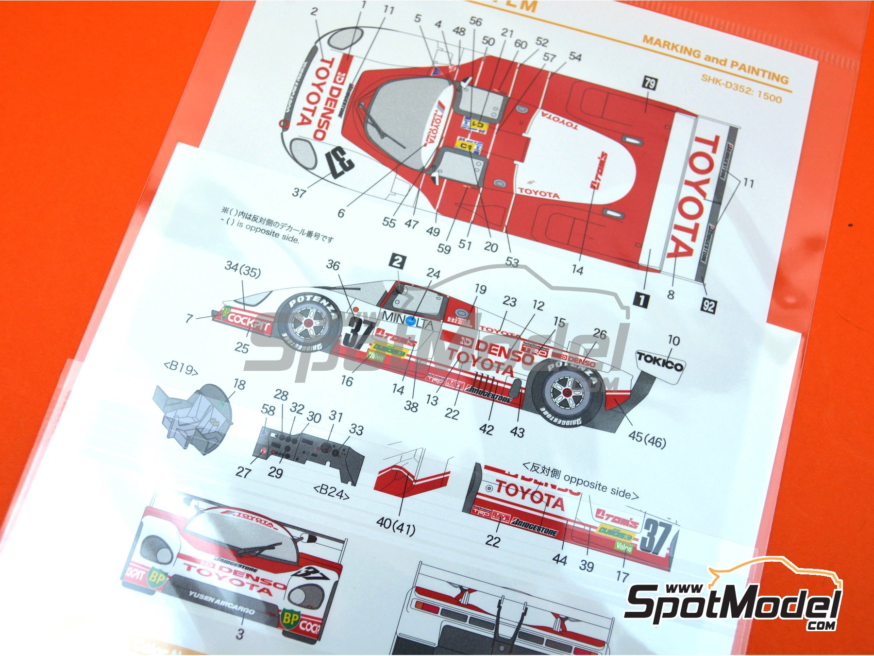 Image 5: Toyota 87C Denso - 24 Hours Le Mans 1987 | Marking / livery in 1/24 scale manufactured by Shunko Models (ref. SHK-D352)
