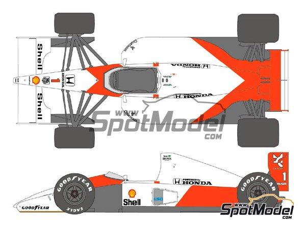 Image 1: McLaren Honda MP4/6 Marlboro - Campeonato del Mundo de Formula1 1991 | Decoración en escala1/12 fabricado por Shunko Models (ref.SHK-D353)
