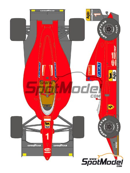 Ferrari 641/2 F1-90 Marlboro Agip Fiat - FIA Formula 1 World Championship 1990   Marking / livery in 1/12 scale manufactured by Shunko Models (ref.SHK-D355) image