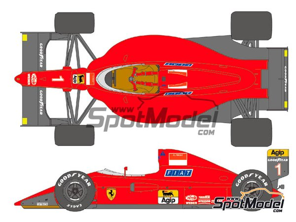 Image 1: Ferrari 641/2 F1-90 Marlboro Agip Fiat - FIA Formula 1 World Championship 1990   Marking / livery in 1/12 scale manufactured by Shunko Models (ref.SHK-D355)
