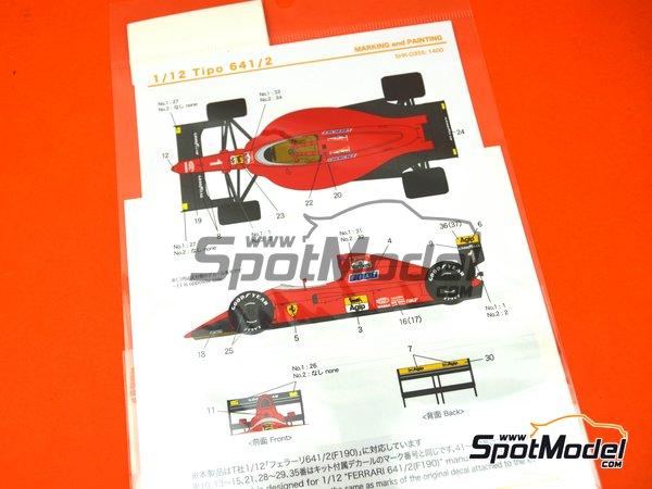 Image 4: Ferrari 641/2 F1-90 Marlboro Agip Fiat - FIA Formula 1 World Championship 1990   Marking / livery in 1/12 scale manufactured by Shunko Models (ref.SHK-D355)
