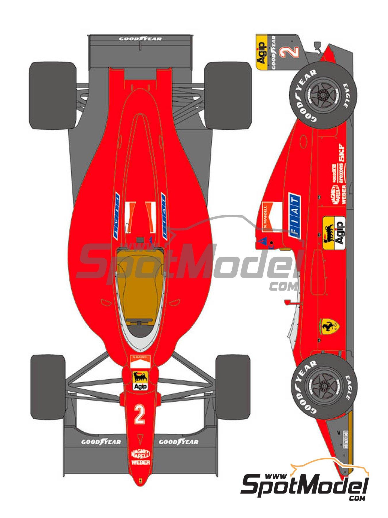 Ferrari 641/2 F1-90 Agip Fiat - Gran Premio de Fórmula 1 de Francia 1990   Decoración en escala1/20 fabricado por Shunko Models (ref.SHK-D356) image