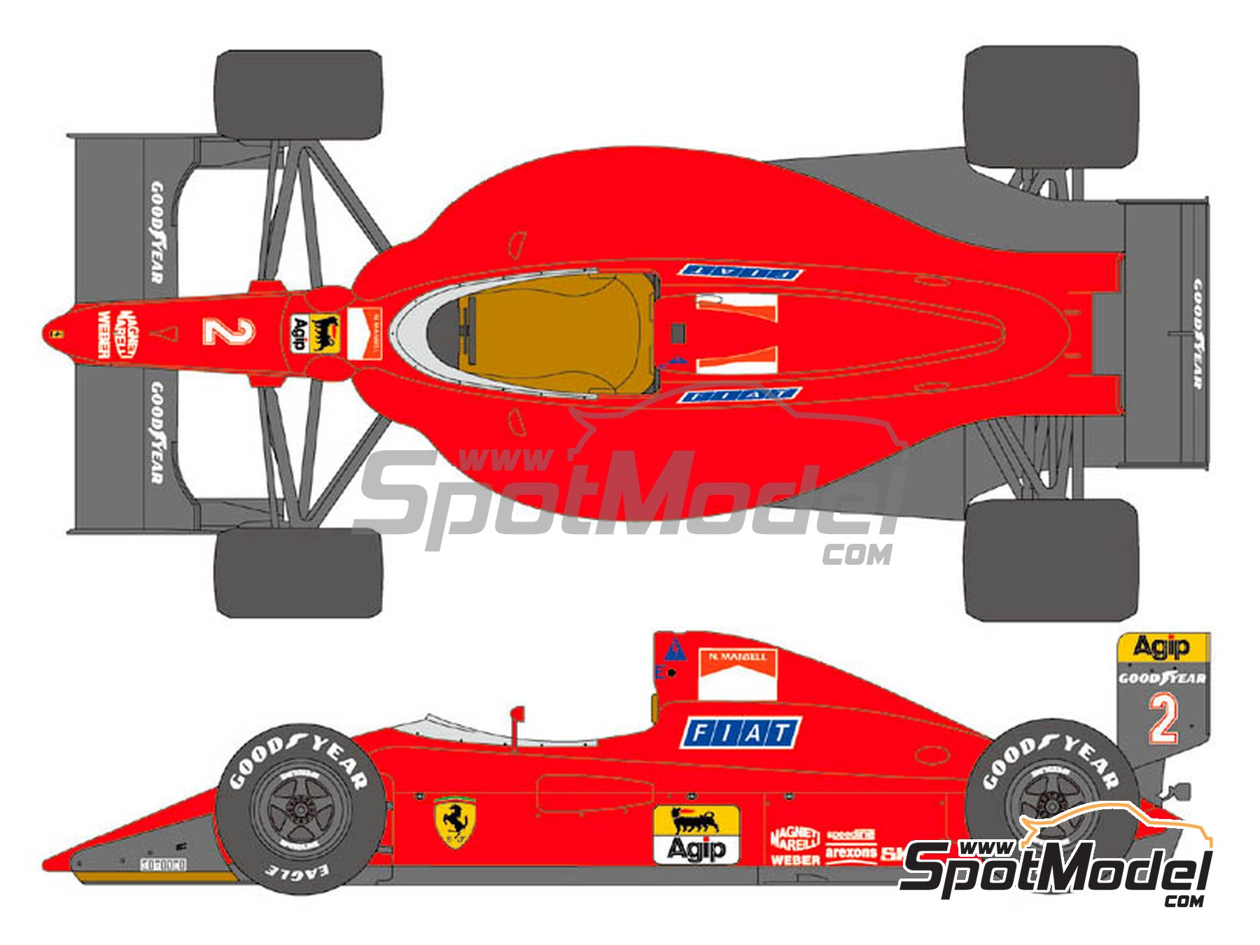 Image 1: Ferrari 641/2 F1-90 Agip Fiat - Gran Premio de Fórmula 1 de Francia 1990   Decoración en escala1/20 fabricado por Shunko Models (ref.SHK-D356)