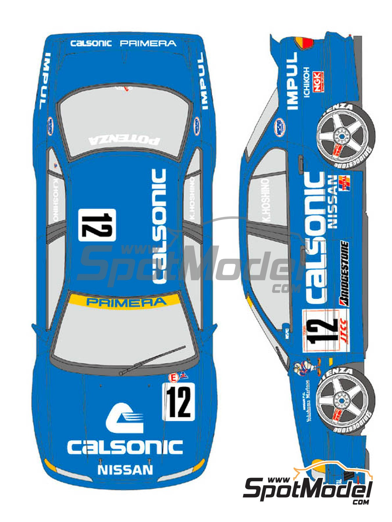 Nissan Primera Calsonic Team Impul - Japan Touring Car Championship (JTCC) 1994 | Marking / livery in 1/24 scale manufactured by Shunko Models (ref. SHK-D357) image