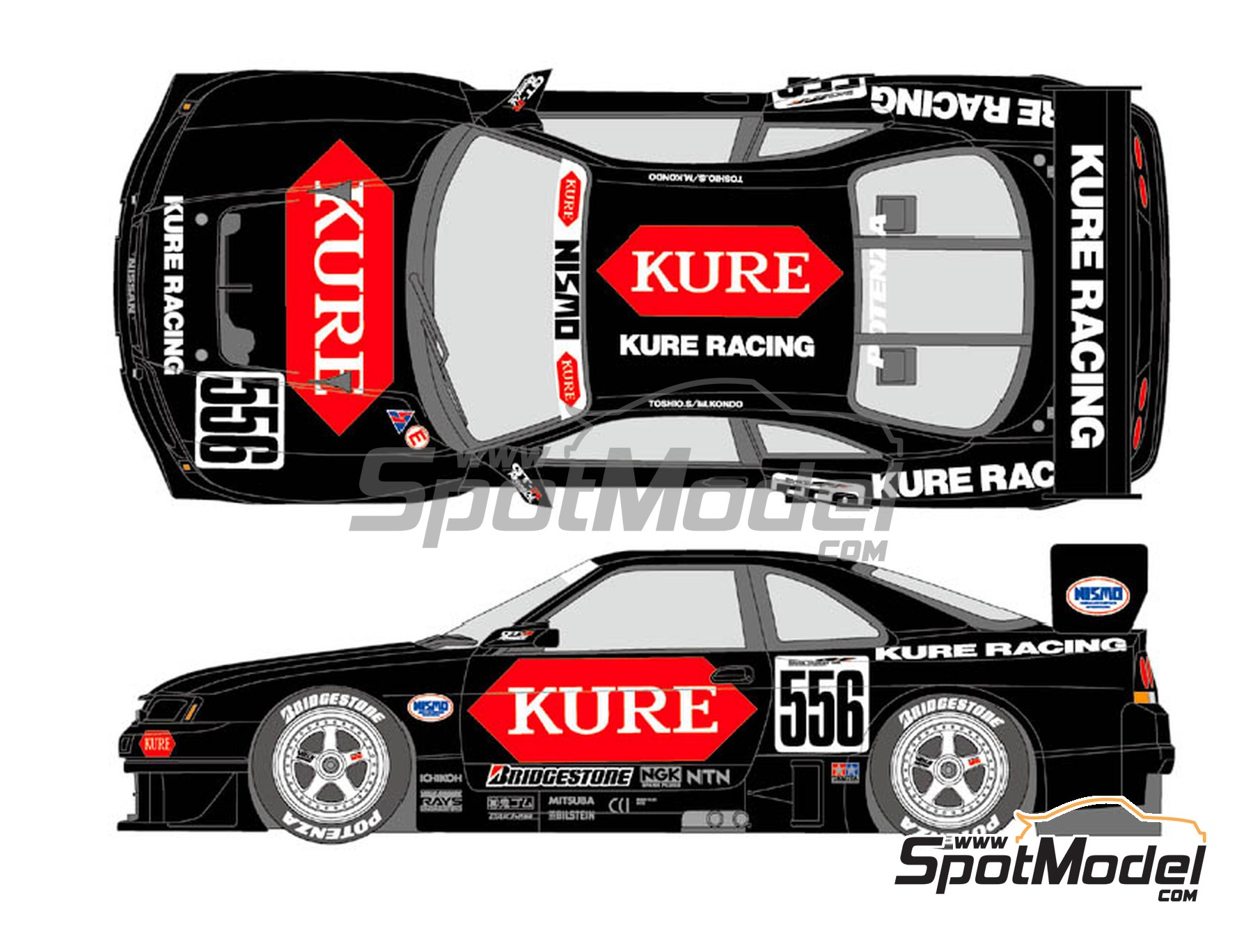 Image 2: Nissan Nismo GT-R Kure Racing - Japanese Grand Touring Car Championship (JGTC) 1996 | Marking / livery in 1/24 scale manufactured by Shunko Models (ref.SHK-D359)