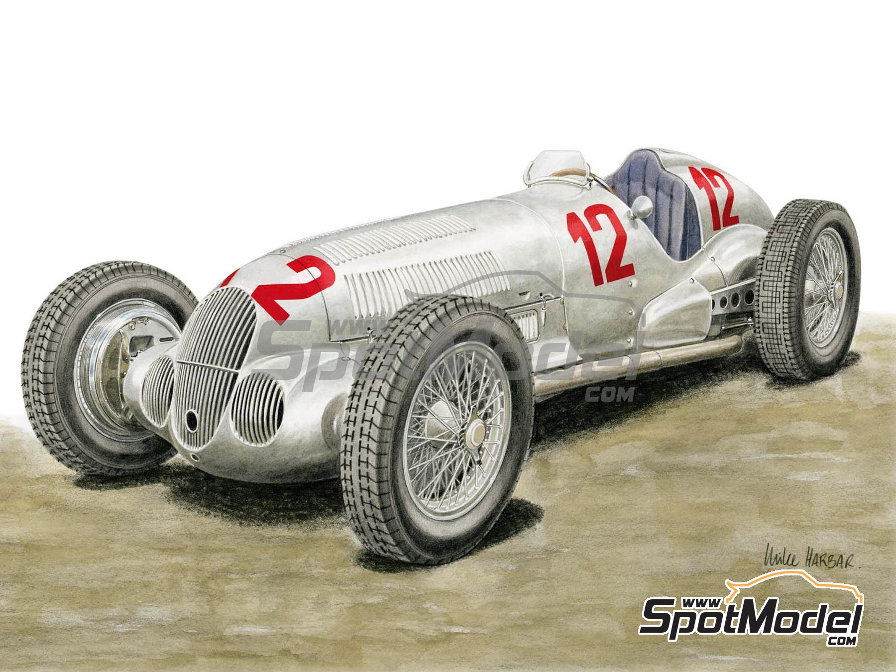 Image 2: Mercedes-Benz W125 - German Grand Prix 1937 | Model car kit in 1/20 scale manufactured by Southern Cross Miniatures (ref. MC-001)