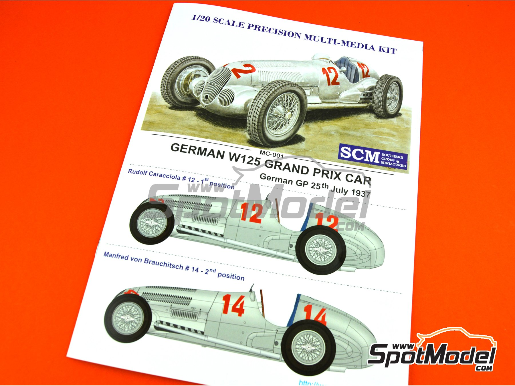 Image 29: Mercedes-Benz W125 - German Formula 1 Grand Prix 1937 | Model car kit in 1/20 scale manufactured by Southern Cross Miniatures (ref. MC-001)