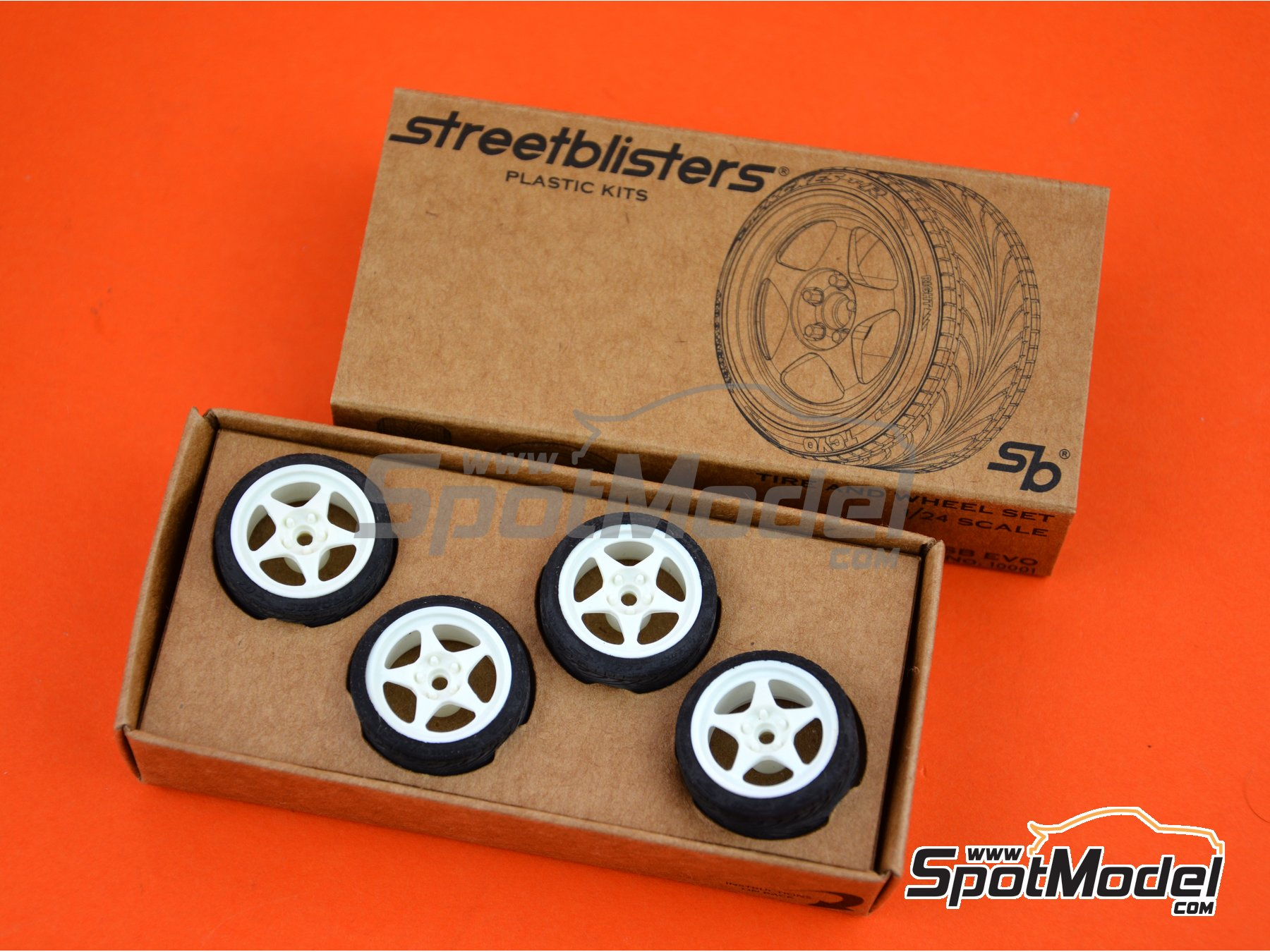 Image 3: SB-EVO | Rims and tyres set in 1/24 scale manufactured by StreetBlisters (ref. 10001)