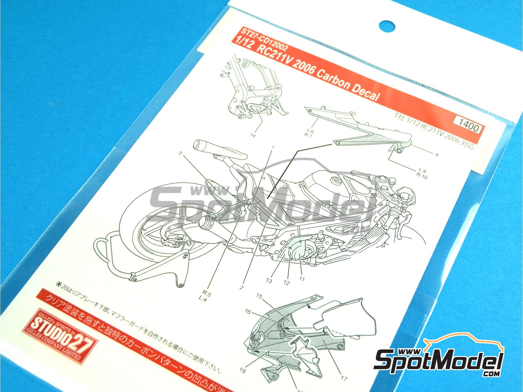 Image 5: Honda RC211V - Campeonato del Mundo de Motociclismo 2006   Patron de fibra de carbono en calca en escala1/12 fabricado por Studio27 (ref.ST27-CD12002)