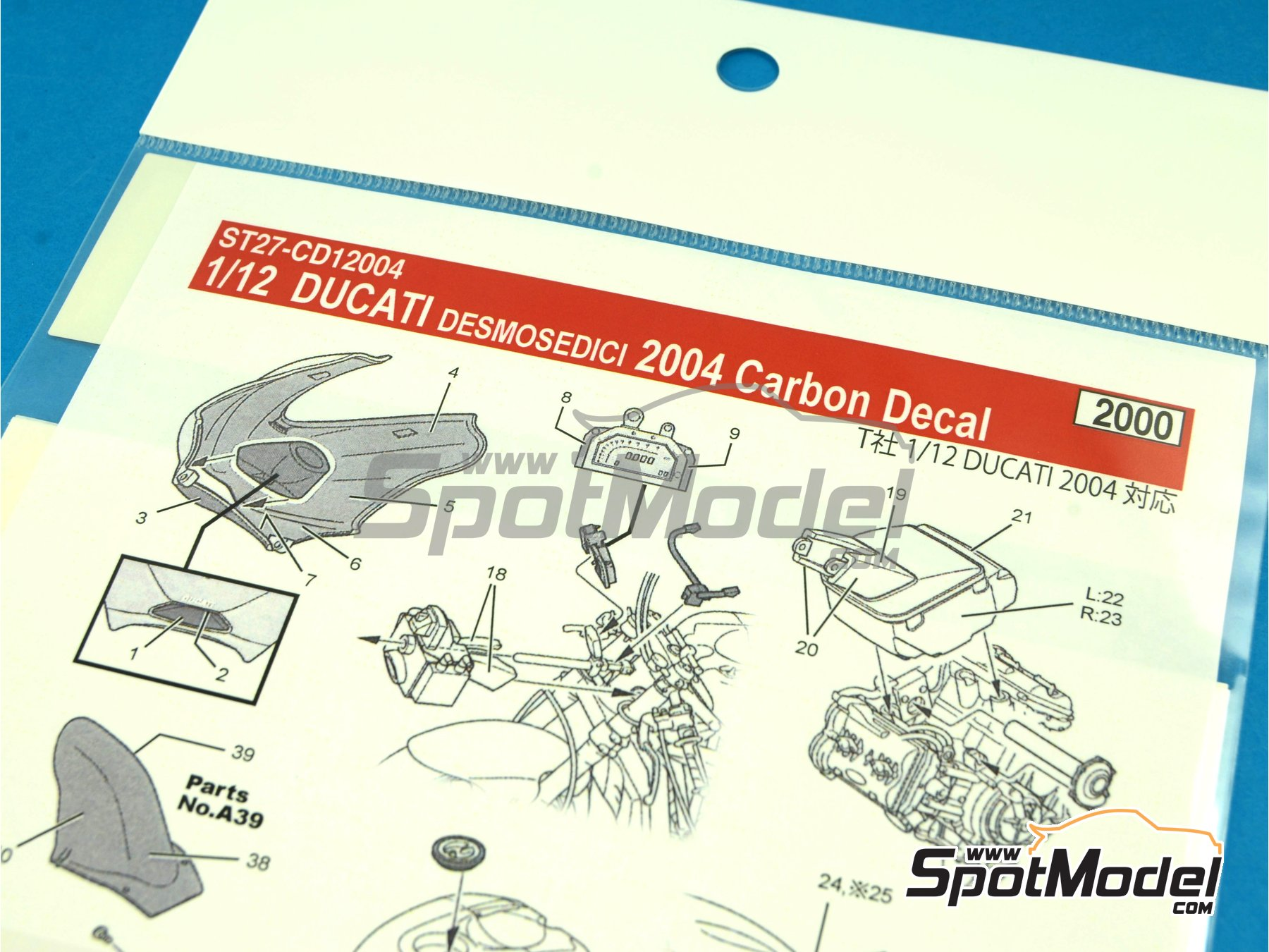 Image 6: Ducati Desmosedici - Motorcycle World Championship 2004 | Carbon fibre pattern decal in 1/12 scale manufactured by Studio27 (ref. ST27-CD12004)