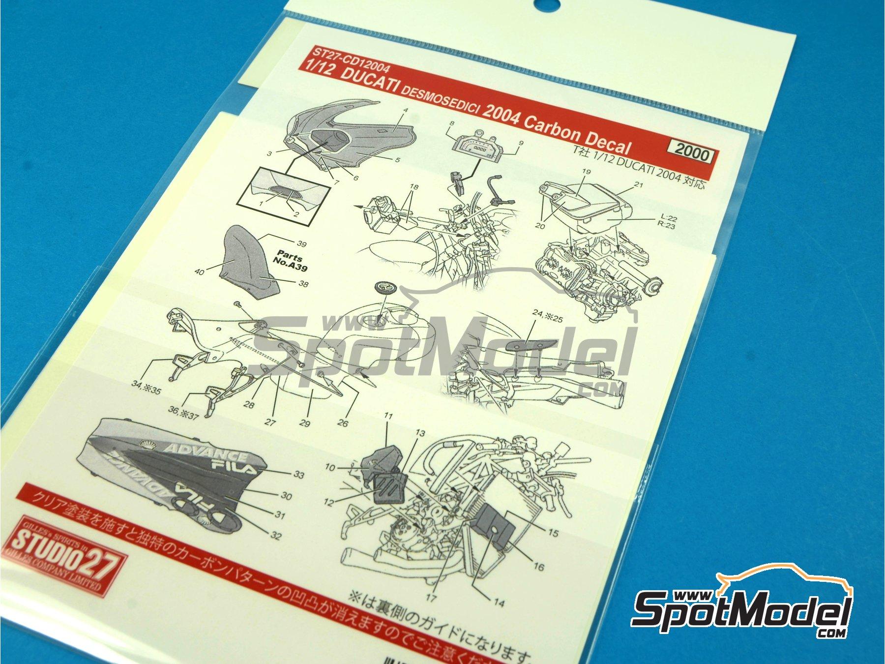 Image 8: Ducati Desmosedici - Campeonato del Mundo de Motociclismo 2004 | Patron de fibra de carbono en calca en escala1/12 fabricado por Studio27 (ref.ST27-CD12004)