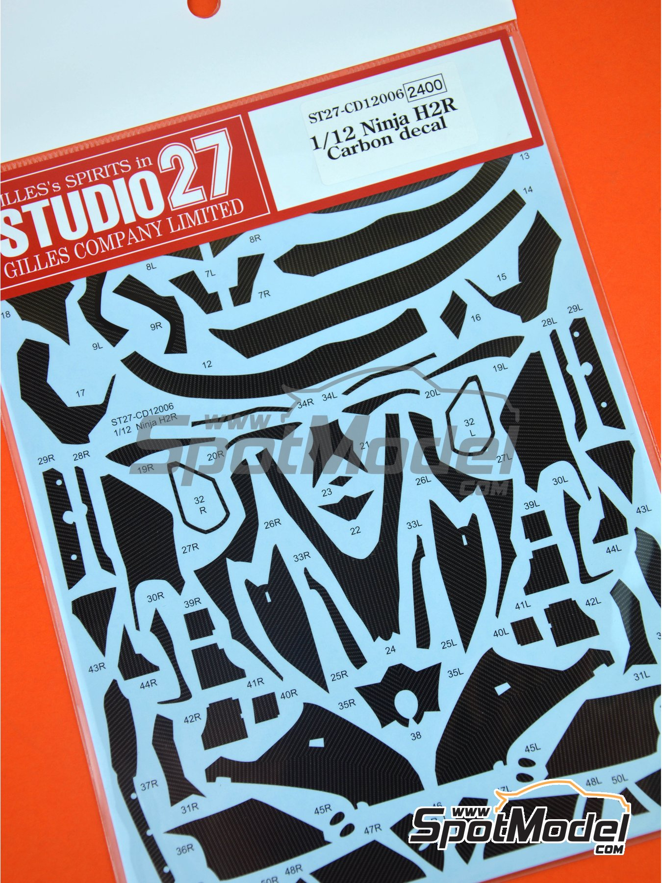 Kawasaki Ninja H2R | Carbon fibre pattern decal in 1/12 scale manufactured by Studio27 (ref.ST27-CD12006) image