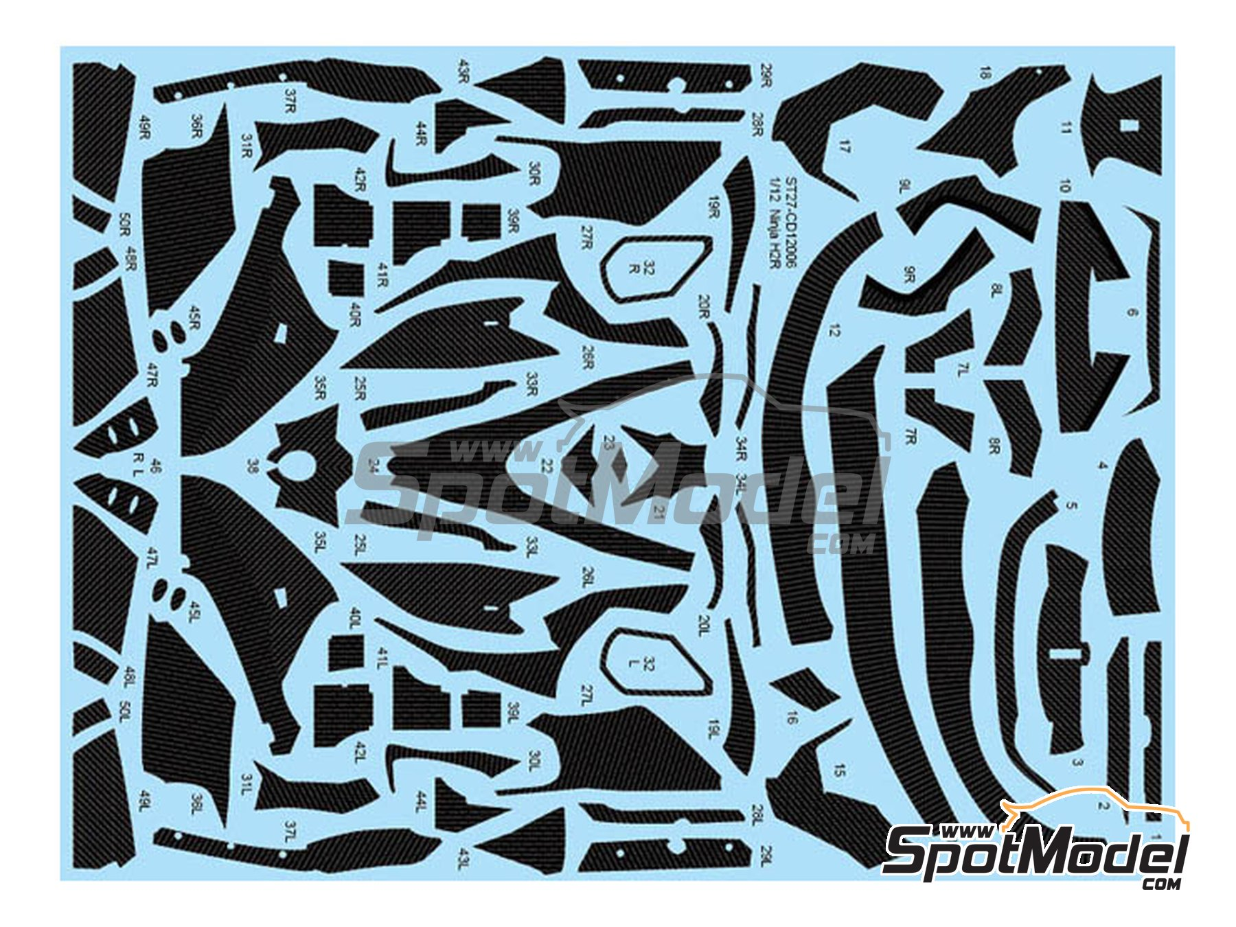 Image 1: Kawasaki Ninja H2R | Carbon fibre pattern decal in 1/12 scale manufactured by Studio27 (ref.ST27-CD12006)