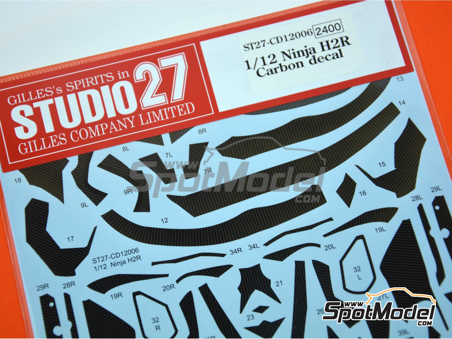 Image 7: Kawasaki Ninja H2R | Carbon fibre pattern decal in 1/12 scale manufactured by Studio27 (ref.ST27-CD12006)