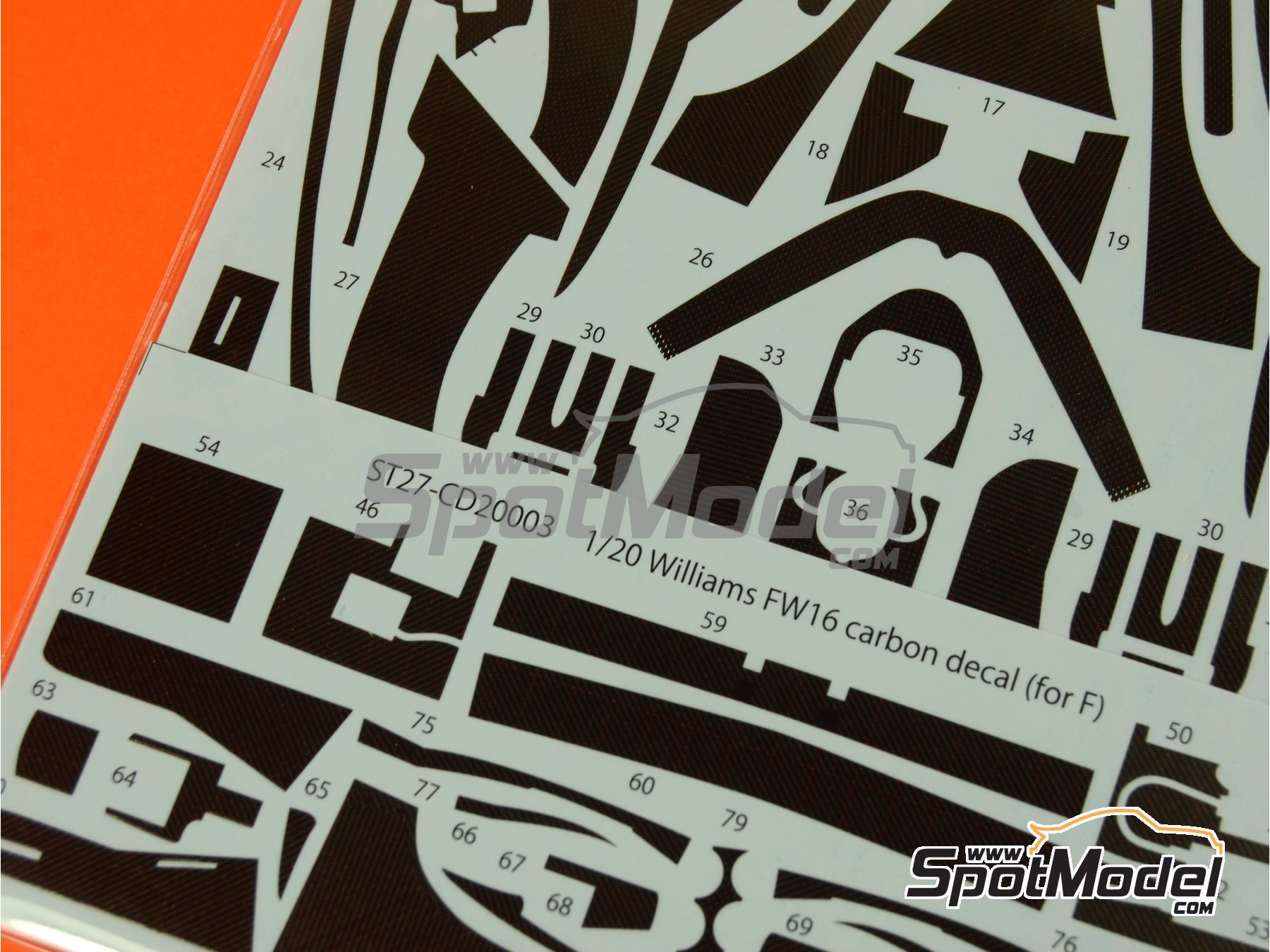 Image 4: Williams Renault FW16   Carbon fibre pattern decal in 1/20 scale manufactured by Studio27 (ref.ST27-CD20003)