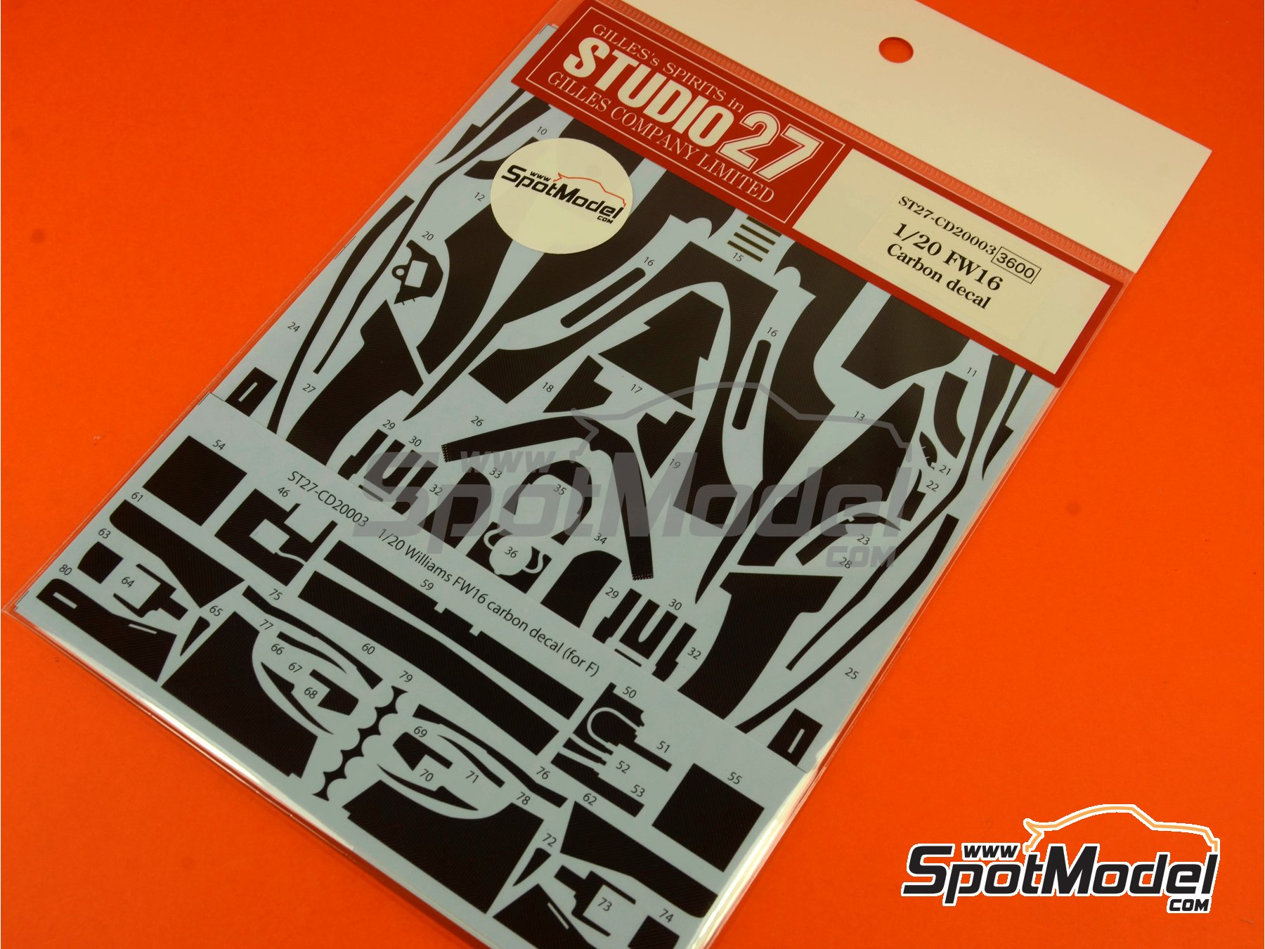 Image 6: Williams Renault FW16   Carbon fibre pattern decal in 1/20 scale manufactured by Studio27 (ref.ST27-CD20003)