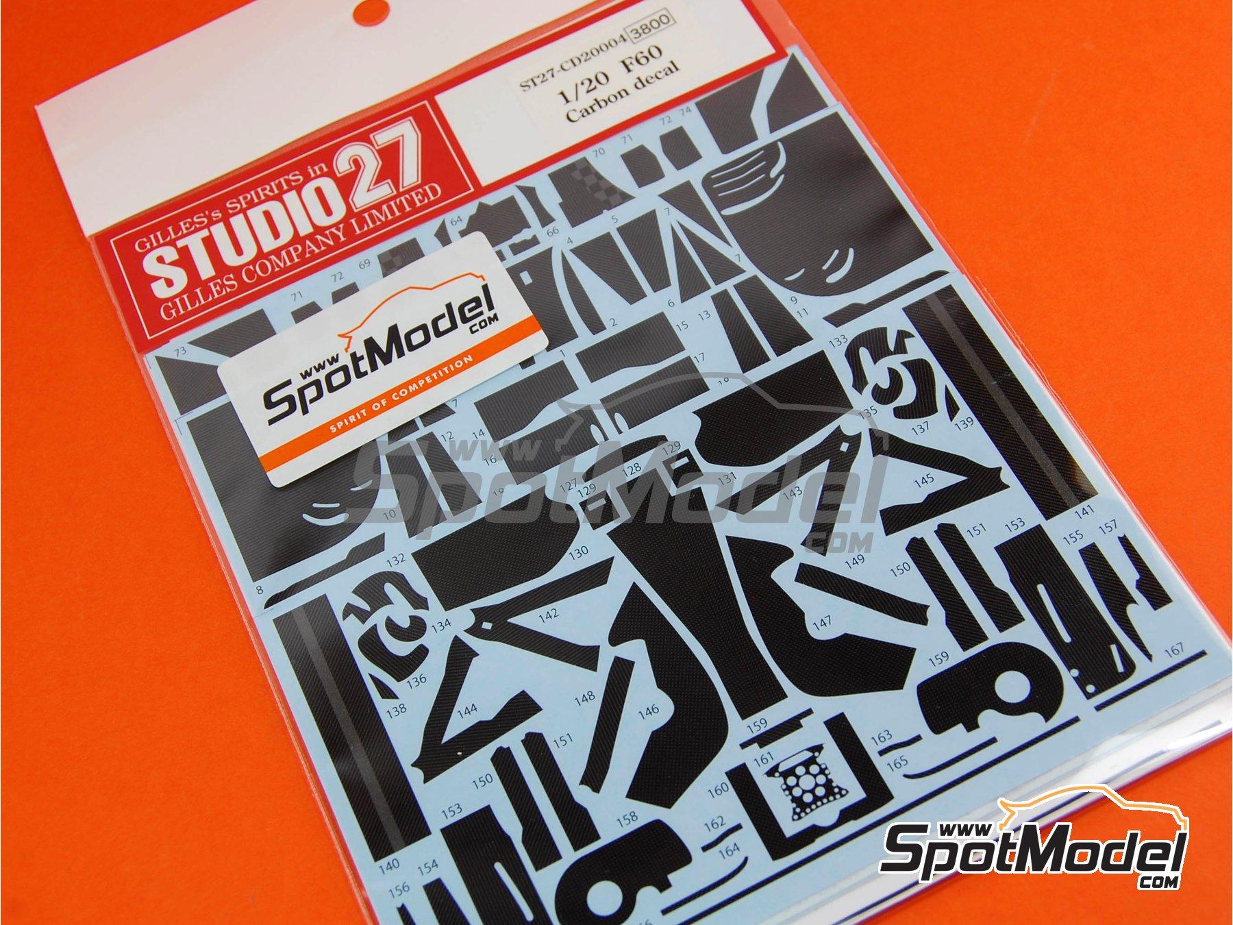 Image 4: Ferrari F60 Banco Santander - Campeonato del Mundo de Formula1 2009 | Patron de fibra de carbono en calca en escala1/20 fabricado por Studio27 (ref.ST27-CD20004)