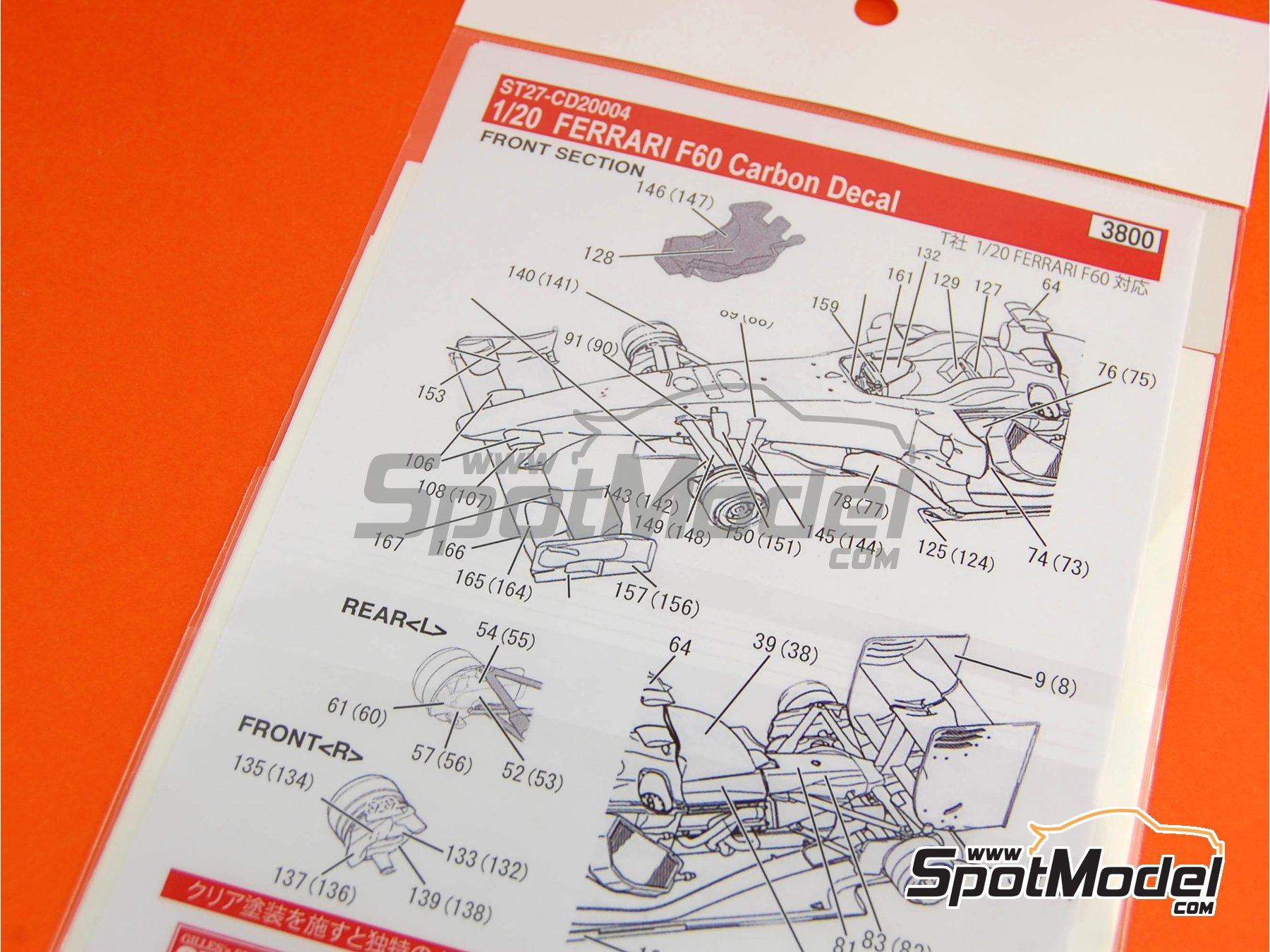 Image 5: Ferrari F60 Banco Santander - Campeonato del Mundo de Formula1 2009 | Patron de fibra de carbono en calca en escala1/20 fabricado por Studio27 (ref.ST27-CD20004)