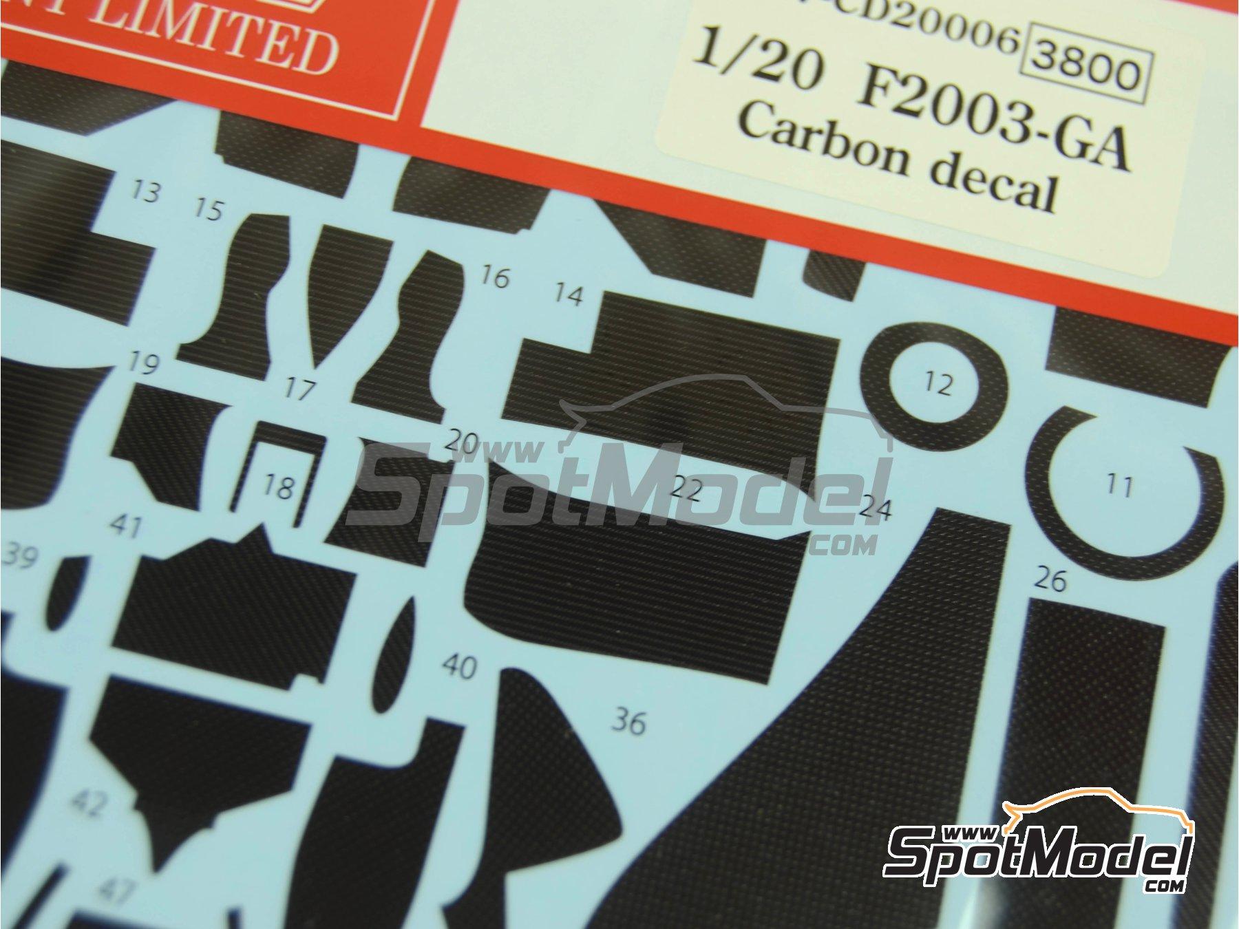 Image 5: Ferrari F2003-GA - FIA Formula 1 World Championship 2003 | Carbon fibre pattern decal in 1/20 scale manufactured by Studio27 (ref.ST27-CD20006)