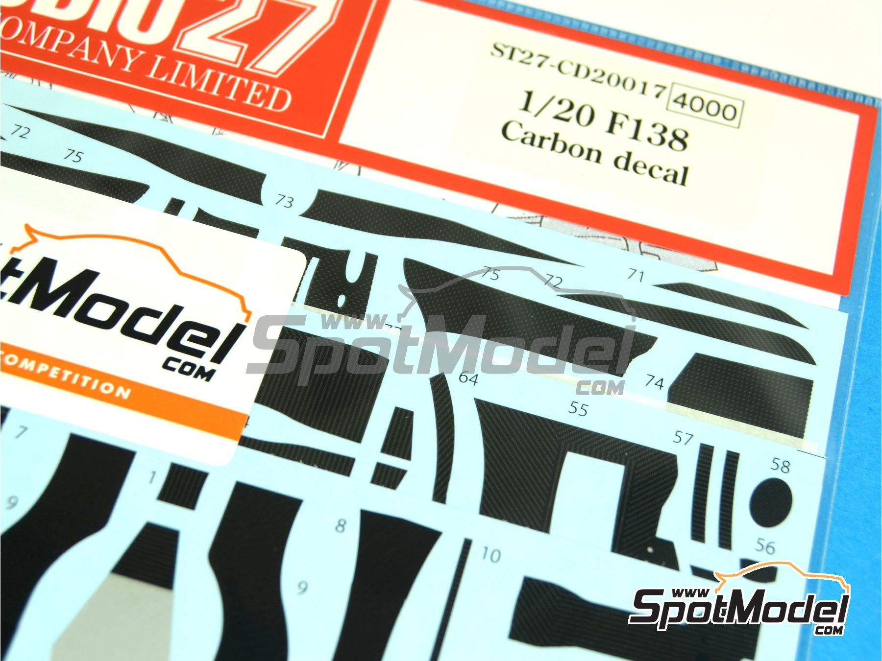 Image 4: Ferrari F138 Banco Santander - Campeonato del Mundo de Formula1 2013 | Patron de fibra de carbono en calca en escala1/20 fabricado por Studio27 (ref.ST27-CD20017)
