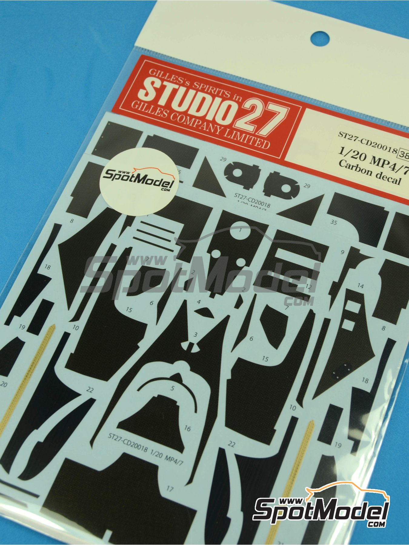 McLaren Honda MP4/7 | Carbon fibre pattern decal in 1/20 scale manufactured by Studio27 (ref.ST27-CD20018) image