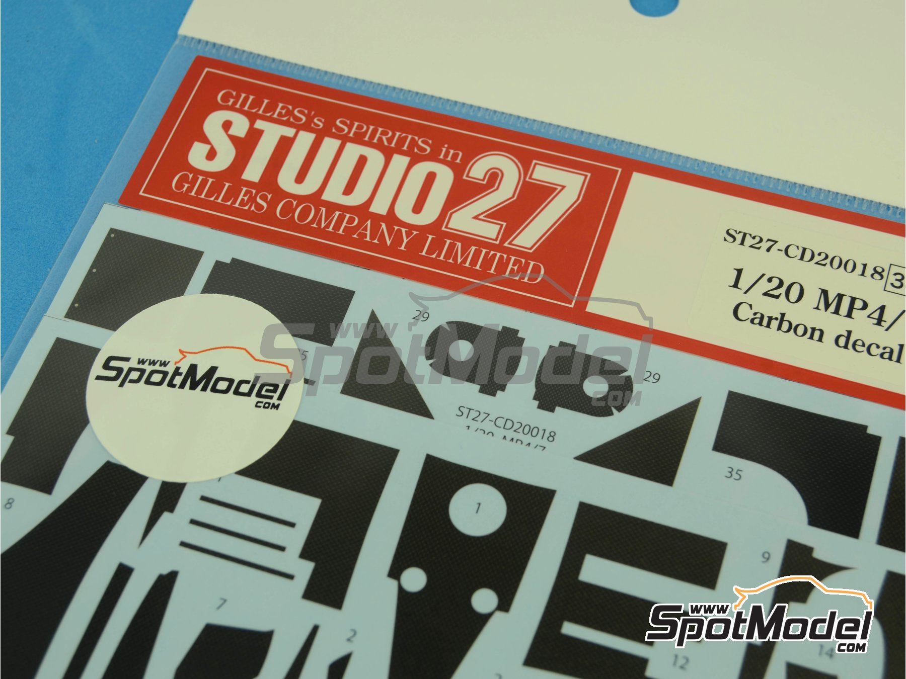 Image 5: McLaren Honda MP4/7 | Carbon fibre pattern decal in 1/20 scale manufactured by Studio27 (ref.ST27-CD20018)