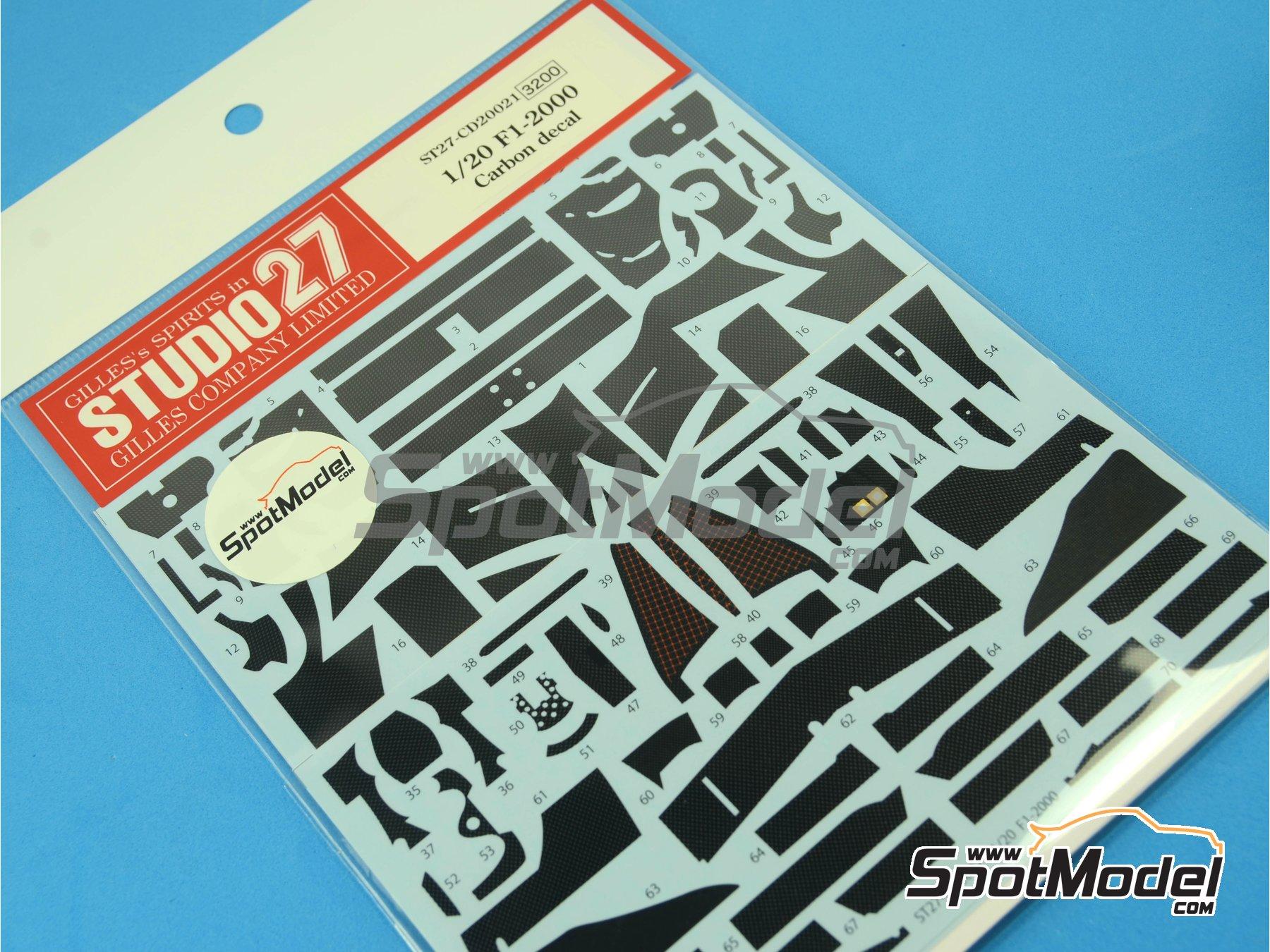 Image 1: Ferrari F1 2000 | Carbon fibre pattern decal in 1/20 scale manufactured by Studio27 (ref.ST27-CD20021)
