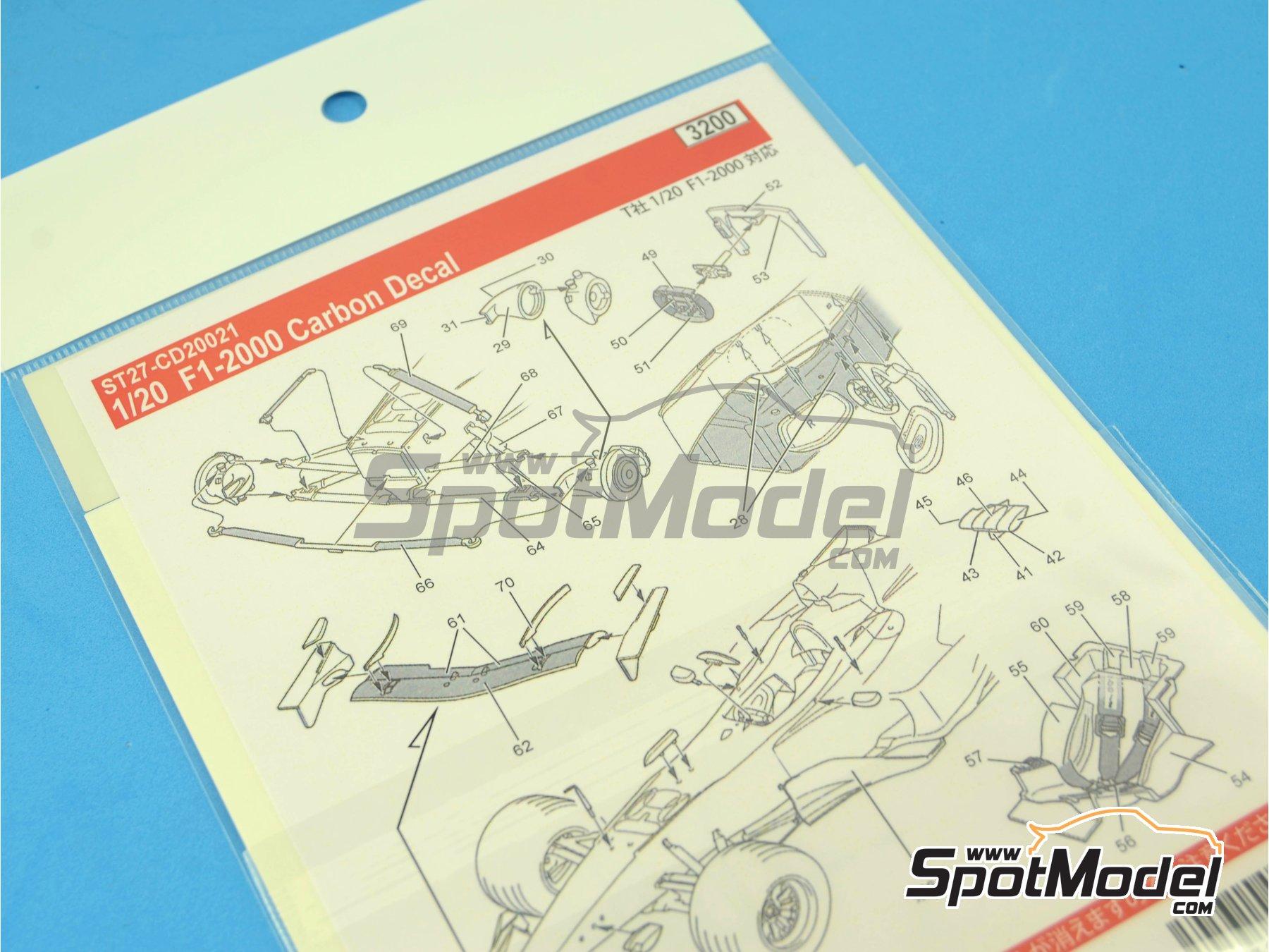 Image 5: Ferrari F1 2000 | Carbon fibre pattern decal in 1/20 scale manufactured by Studio27 (ref.ST27-CD20021)