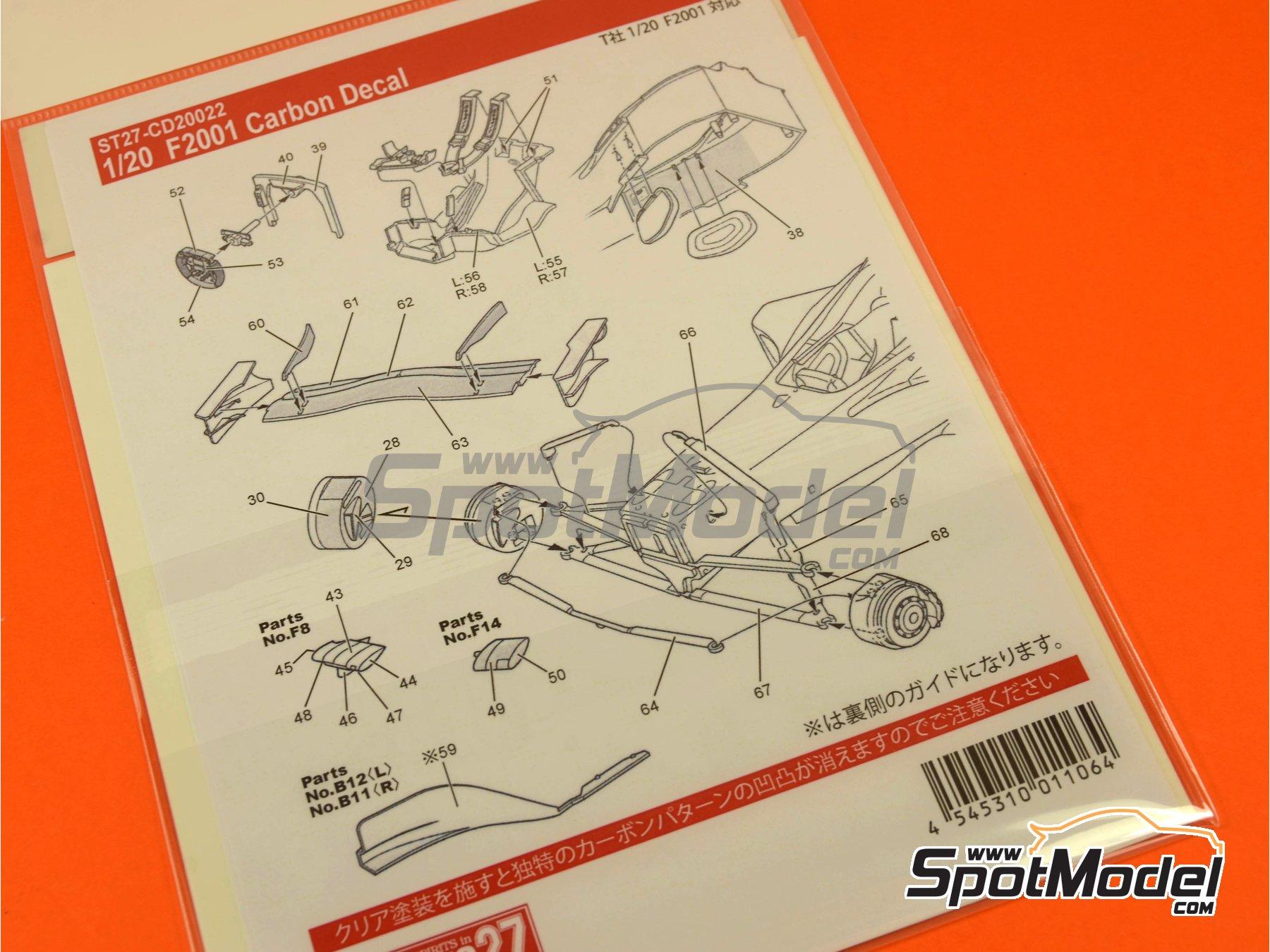 Image 1: Ferrari F2001 | Patron de fibra de carbono en calca en escala1/20 fabricado por Studio27 (ref.ST27-CD20022)