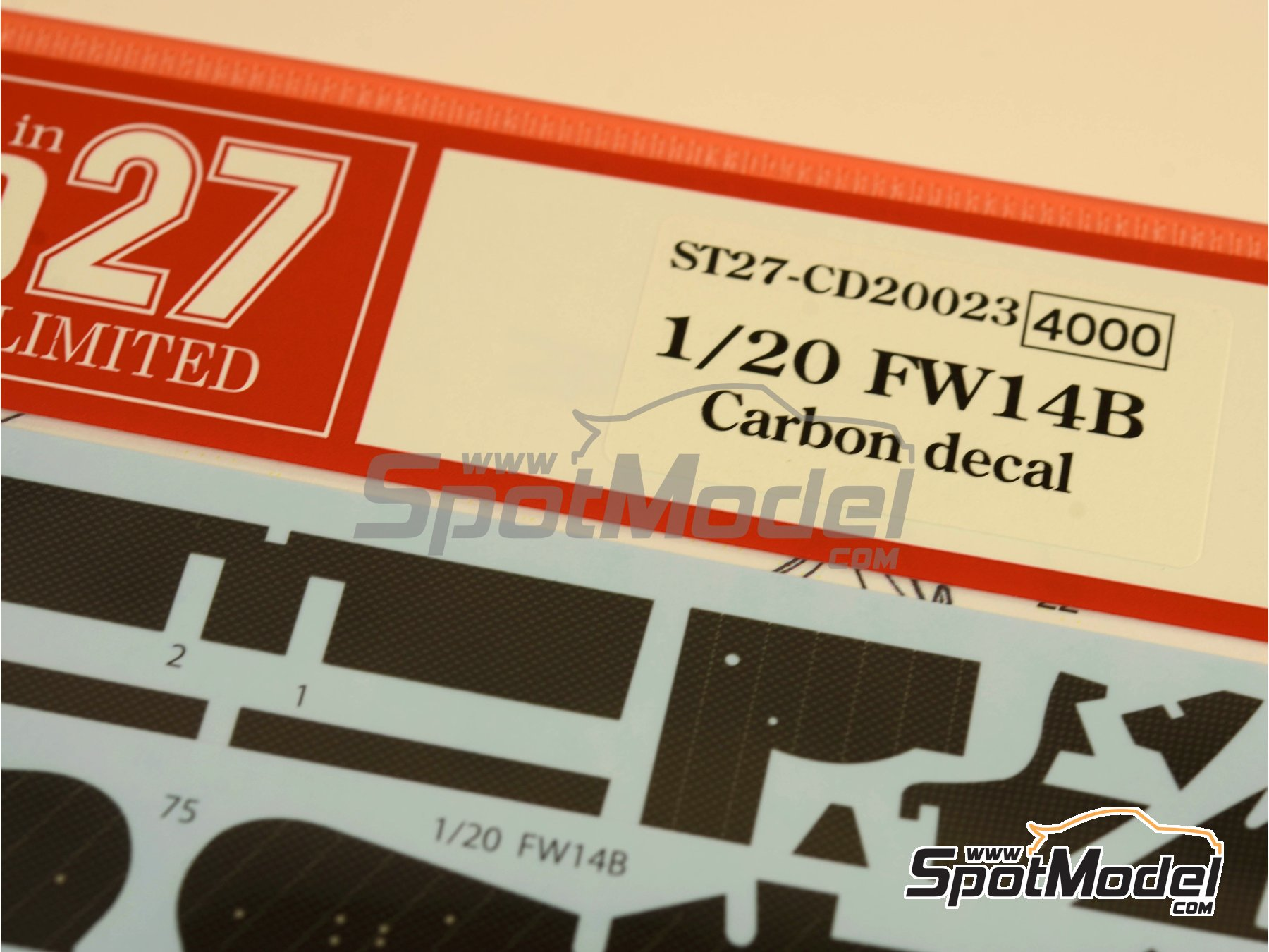 Image 1: Williams Renault FW14B - FIA Formula 1 World Championship 1992   Carbon fibre pattern decal in 1/20 scale manufactured by Studio27 (ref.ST27-CD20023)