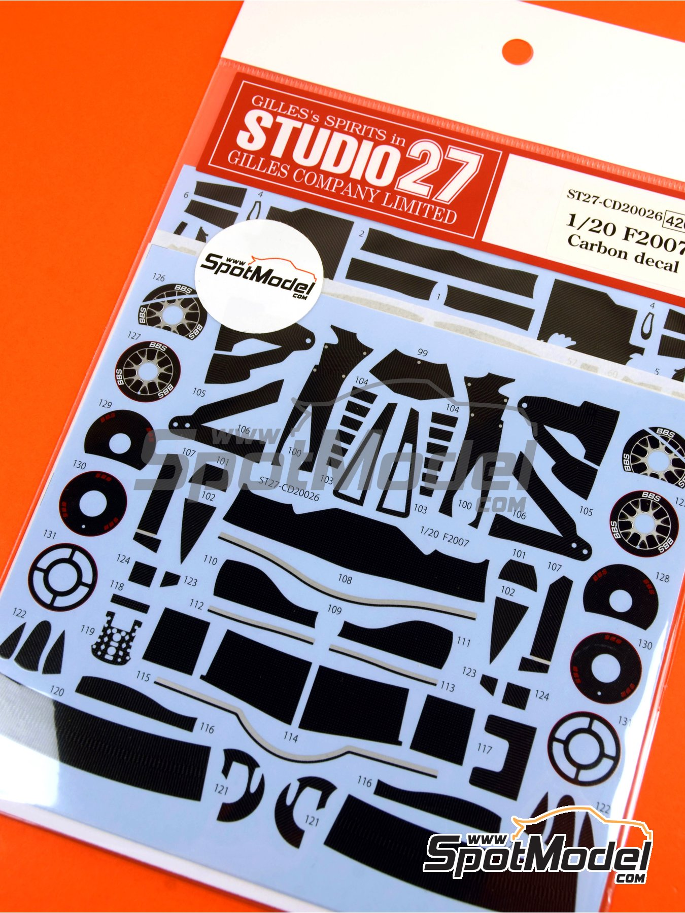 Ferrari F2007 | Carbon fibre pattern decal in 1/20 scale manufactured by Studio27 (ref. ST27-CD20026) image
