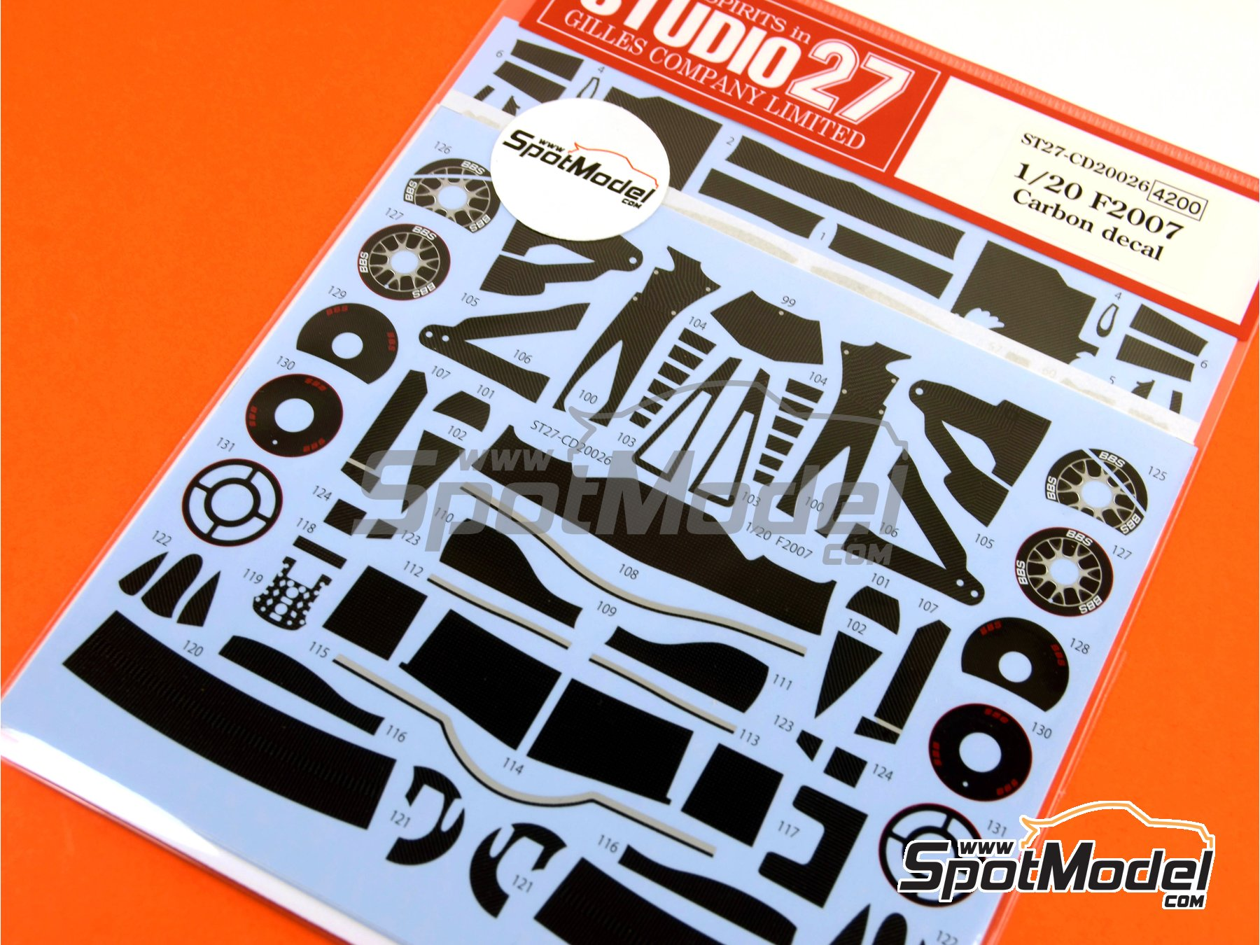 Image 6: Ferrari F2007 | Carbon fibre pattern decal in 1/20 scale manufactured by Studio27 (ref. ST27-CD20026)