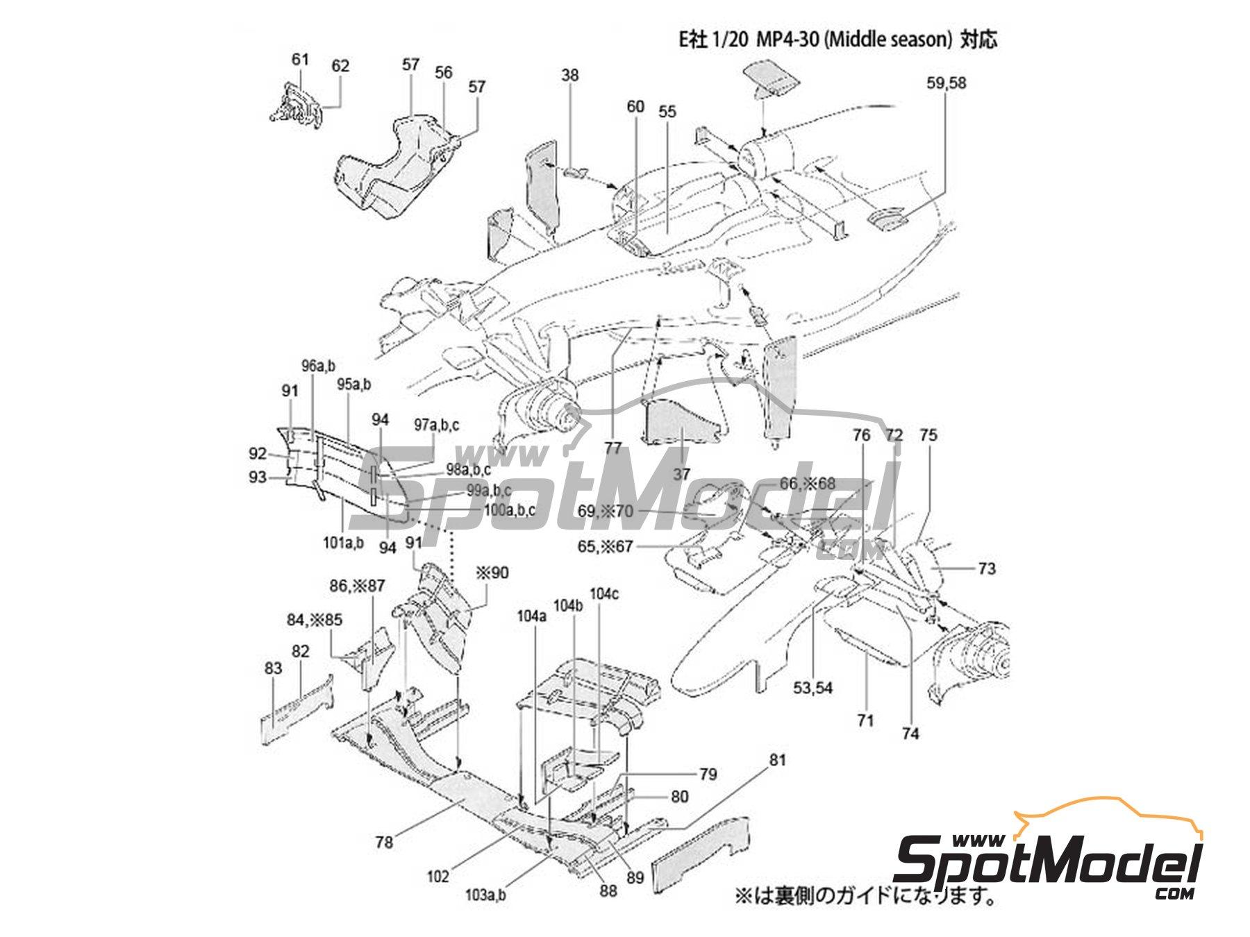 Image 1: McLaren Honda MP4/30 Mobil1 - Campeonato del Mundo de Formula1 2015 | Patron de fibra de carbono en calca en escala1/20 fabricado por Studio27 (ref.ST27-CD20030)