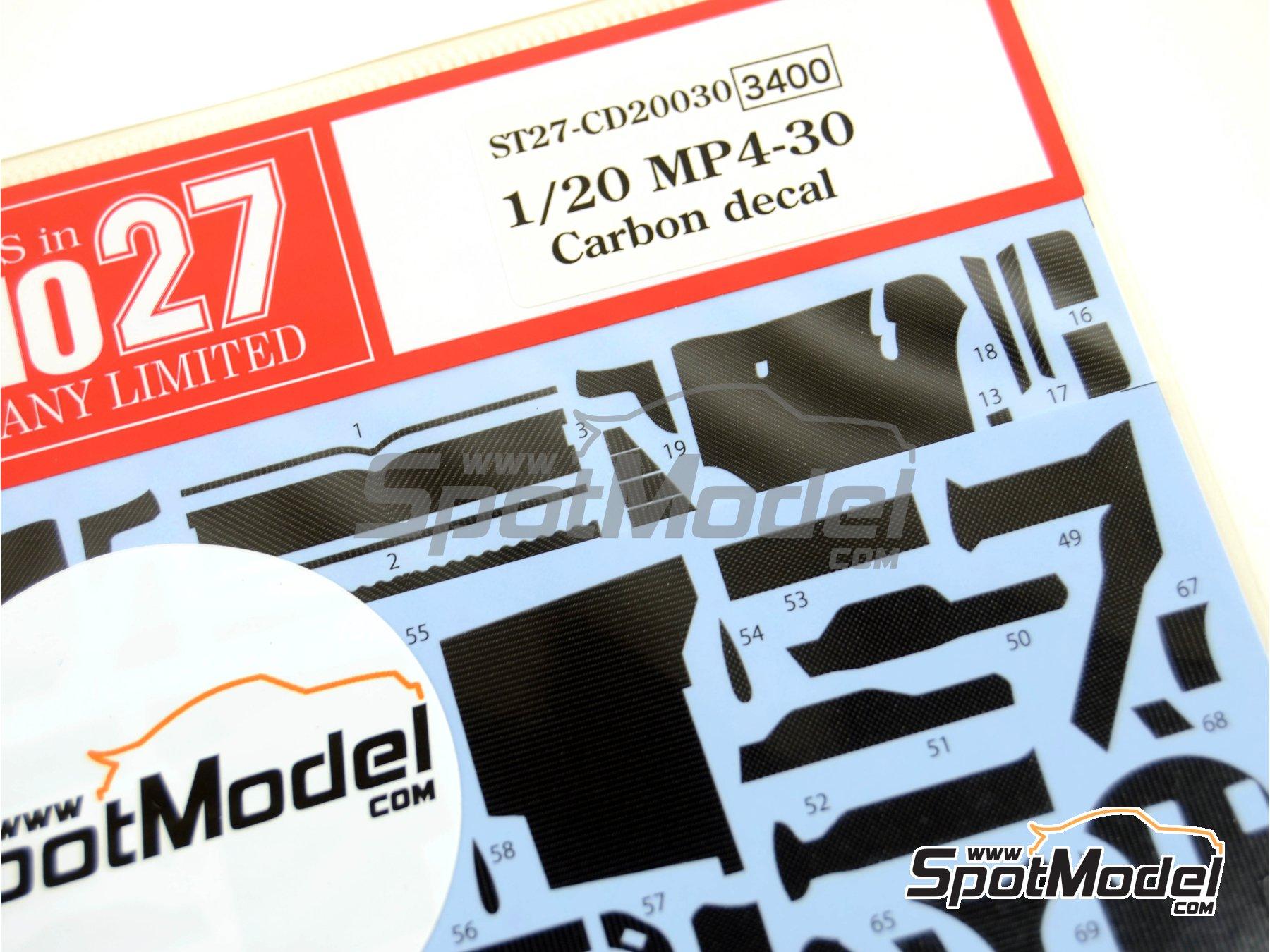 Image 3: McLaren Honda MP4/30 Mobil1 - Campeonato del Mundo de Formula1 2015 | Patron de fibra de carbono en calca en escala1/20 fabricado por Studio27 (ref.ST27-CD20030)