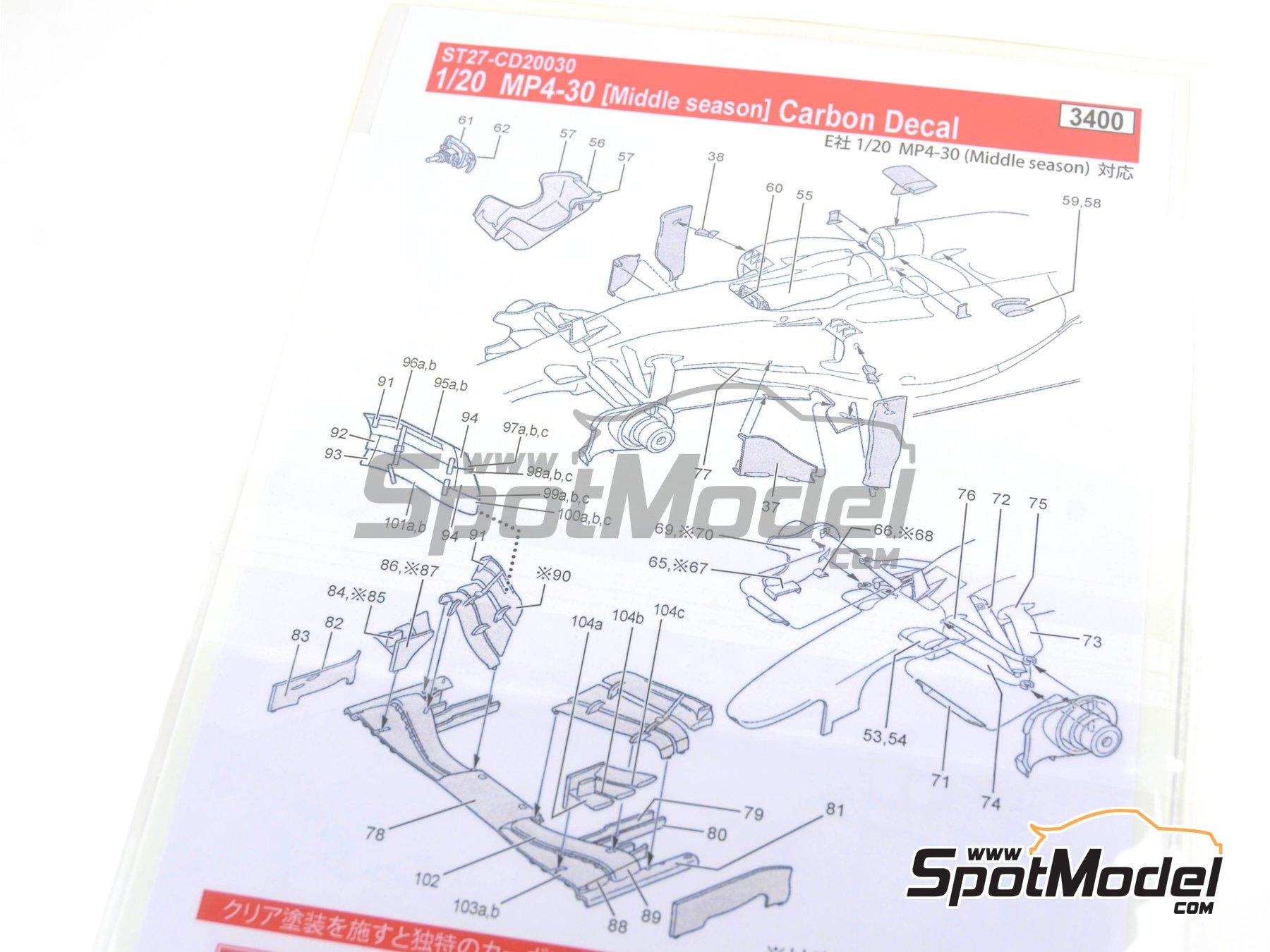 Image 8: McLaren Honda MP4/30 Mobil1 - Campeonato del Mundo de Formula1 2015 | Patron de fibra de carbono en calca en escala1/20 fabricado por Studio27 (ref.ST27-CD20030)