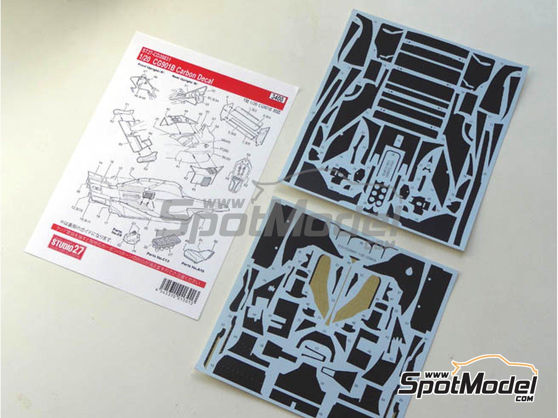 Image 1: Leyton House Judd CG901B Carglass - Campeonato del Mundo de Formula1 1990 | Patron de fibra de carbono en calca en escala1/20 fabricado por Studio27 (ref.ST27-CD20031)
