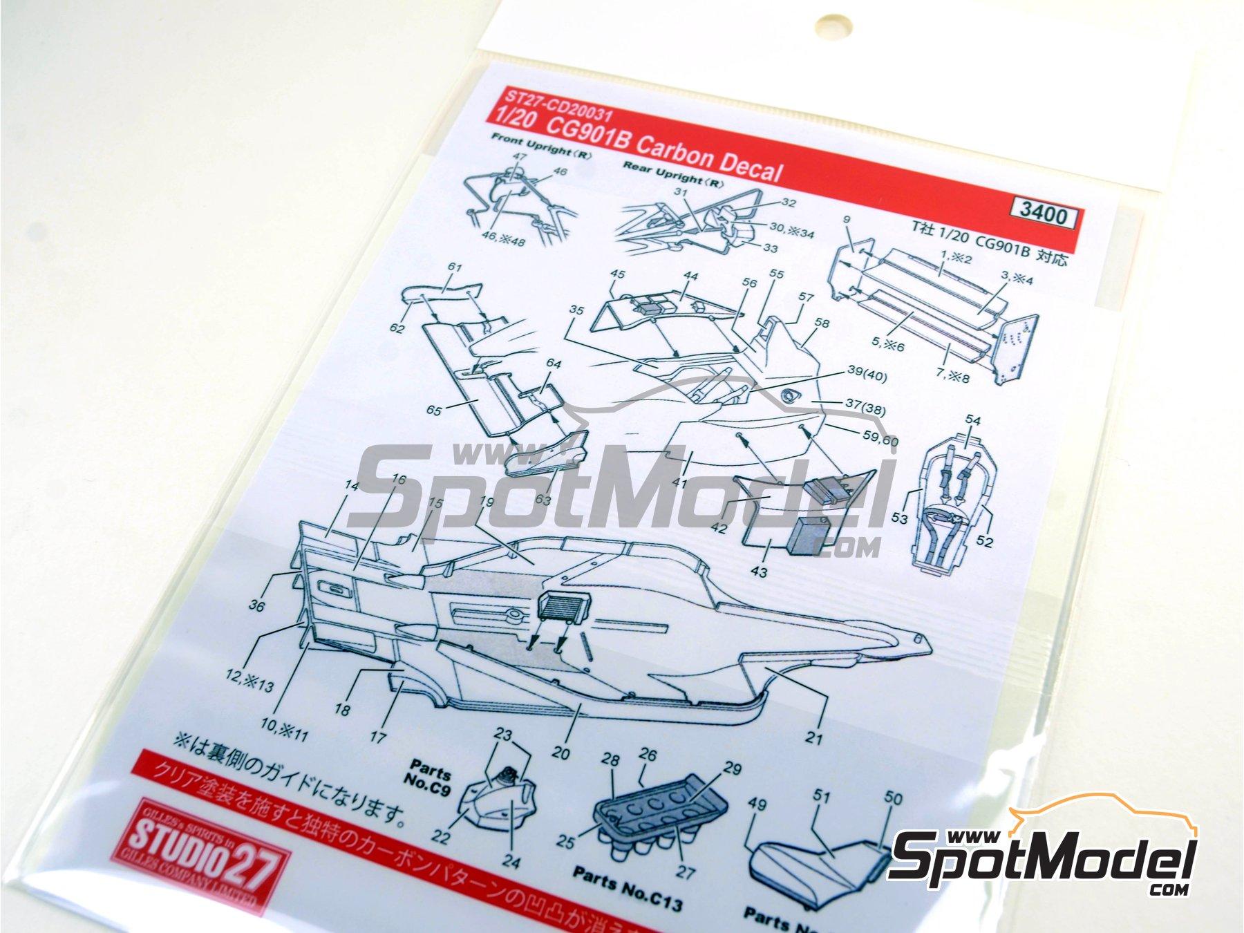 Image 9: Leyton House Judd CG901B Carglass - Campeonato del Mundo de Formula1 1990 | Patron de fibra de carbono en calca en escala1/20 fabricado por Studio27 (ref.ST27-CD20031)