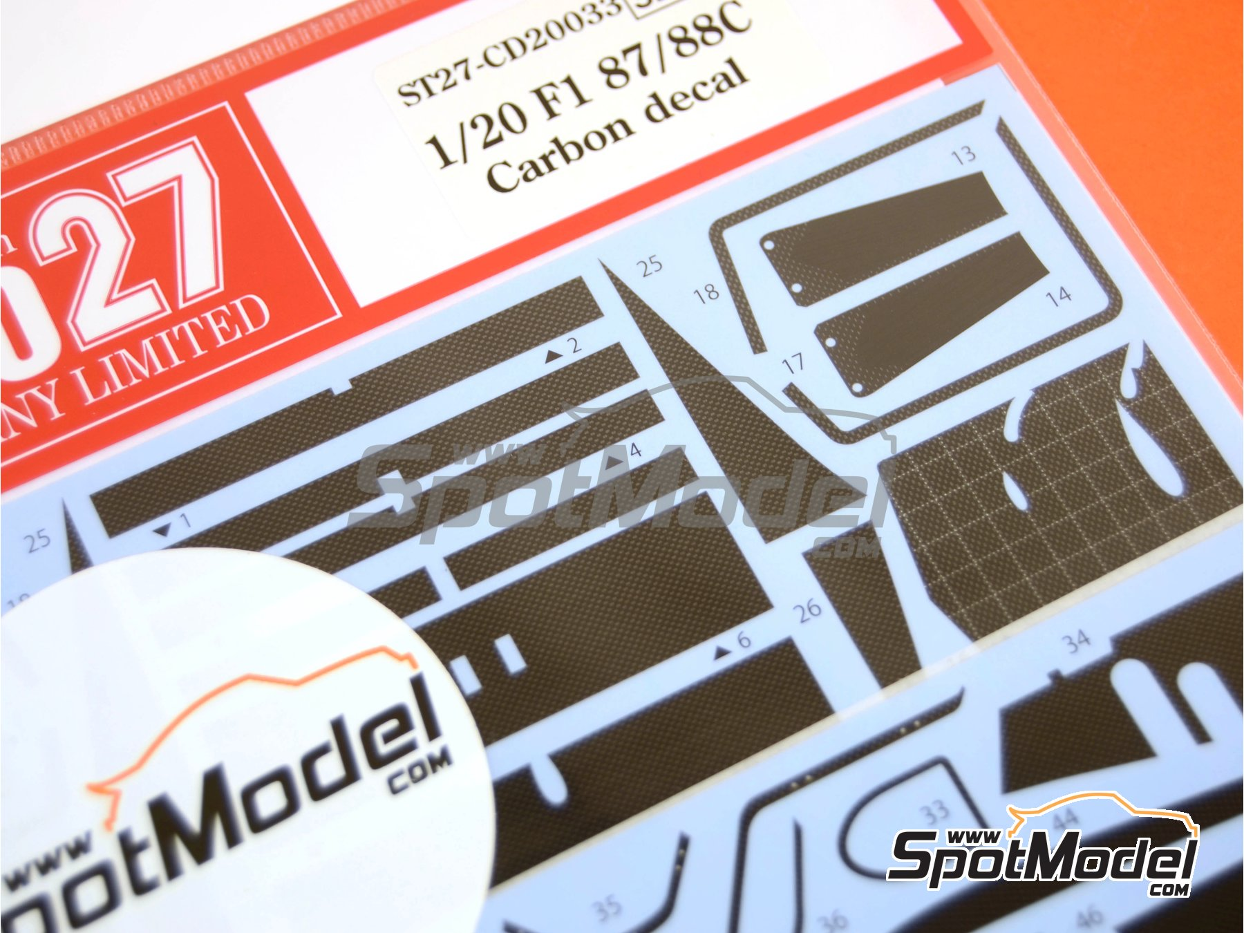 Image 1: Ferrari F1 87/88C | Carbon fibre pattern decal in 1/20 scale manufactured by Studio27 (ref.ST27-CD20033)