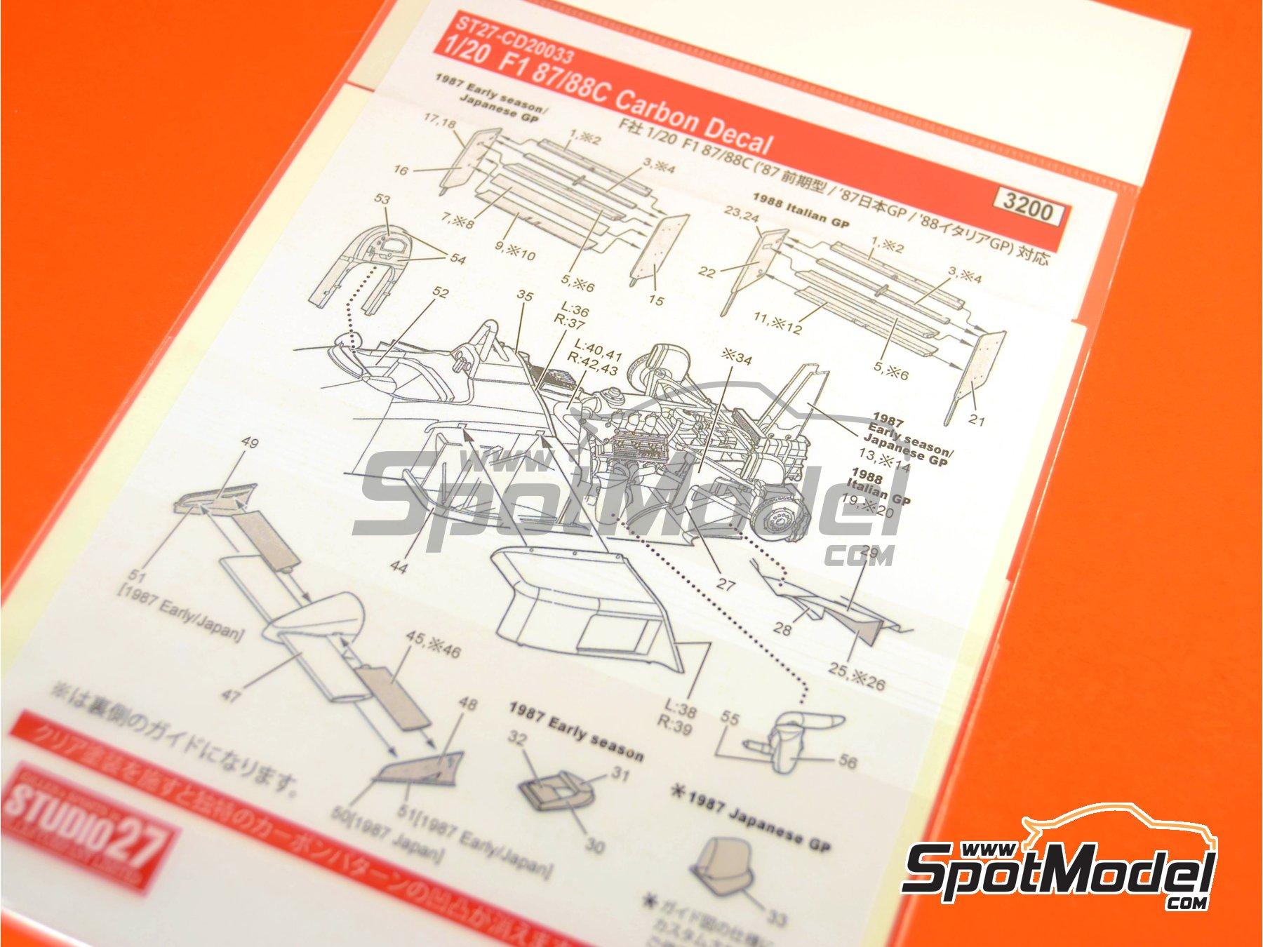 Image 5: Ferrari F1 87/88C | Carbon fibre pattern decal in 1/20 scale manufactured by Studio27 (ref.ST27-CD20033)