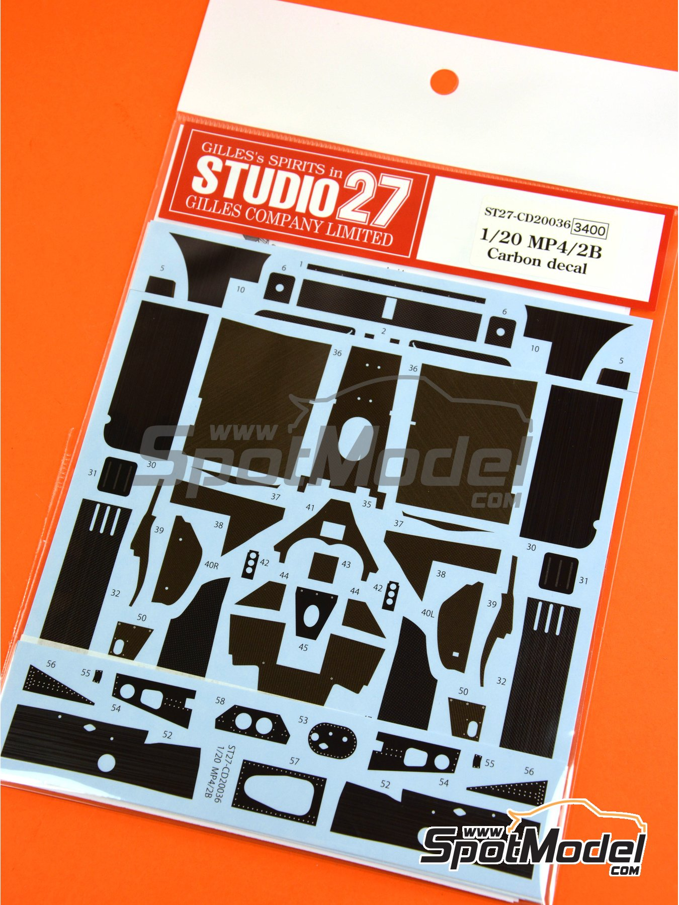 McLaren MP4/2B TAG Porsche | Carbon fibre pattern decal in 1/20 scale manufactured by Studio27 (ref.ST27-CD20036) image