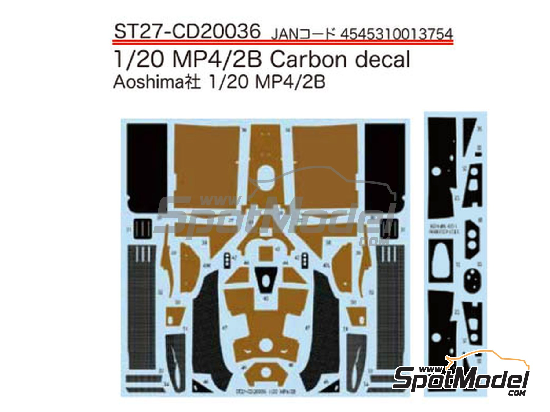Image 1: McLaren MP4/2B TAG Porsche | Carbon fibre pattern decal in 1/20 scale manufactured by Studio27 (ref.ST27-CD20036)