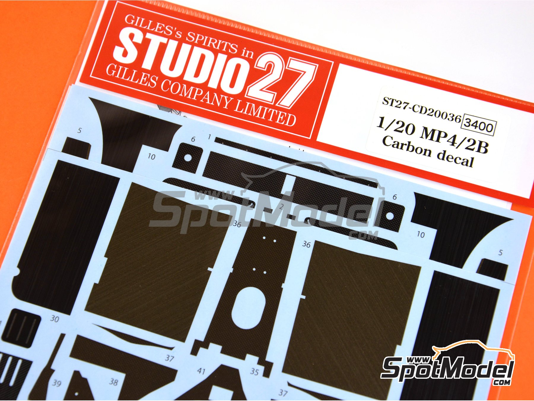 Image 3: McLaren MP4/2B TAG Porsche | Carbon fibre pattern decal in 1/20 scale manufactured by Studio27 (ref.ST27-CD20036)
