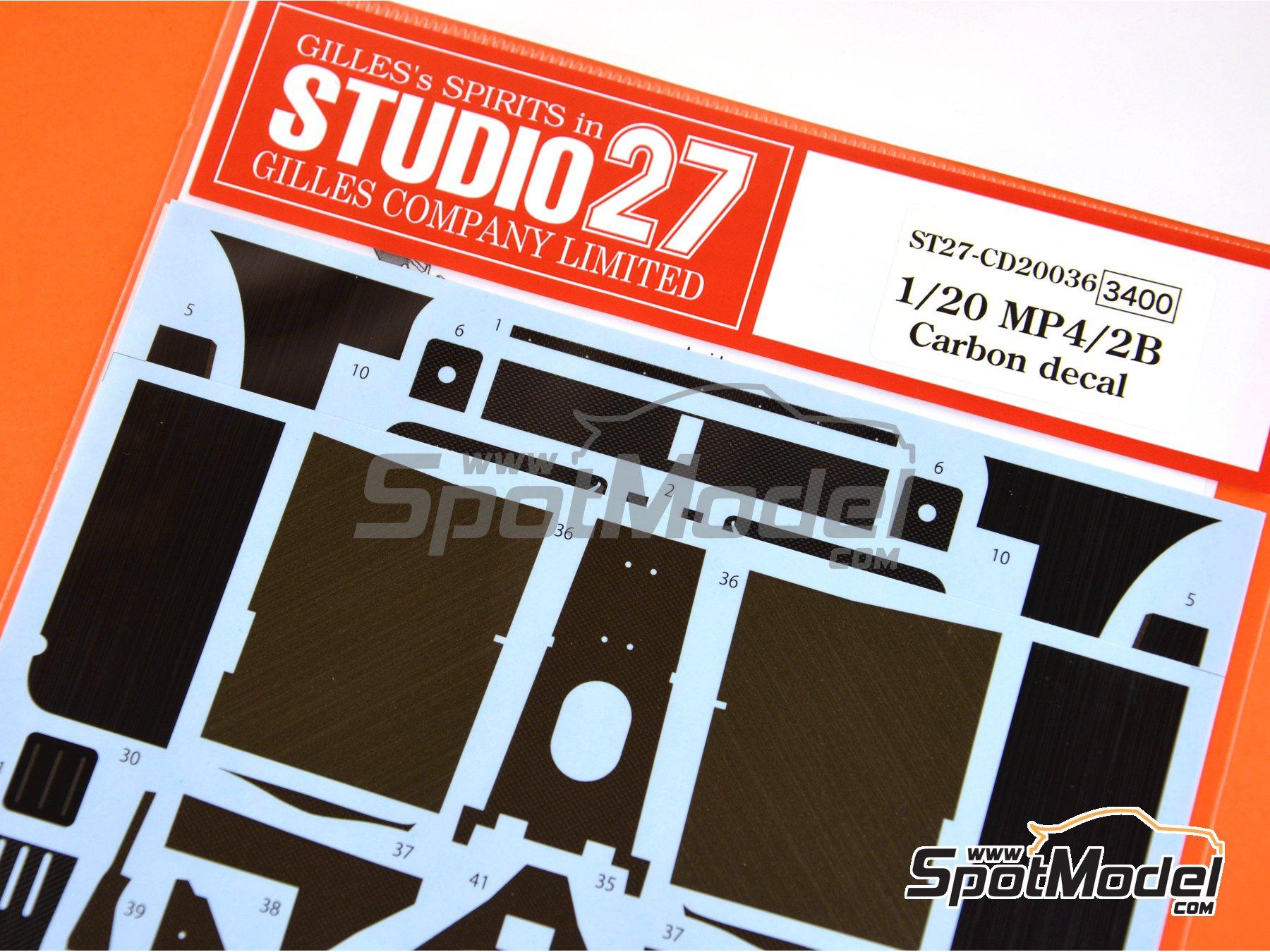 Image 3: McLaren MP4/2B TAG Porsche | Patron de fibra de carbono en calca en escala1/20 fabricado por Studio27 (ref.ST27-CD20036)