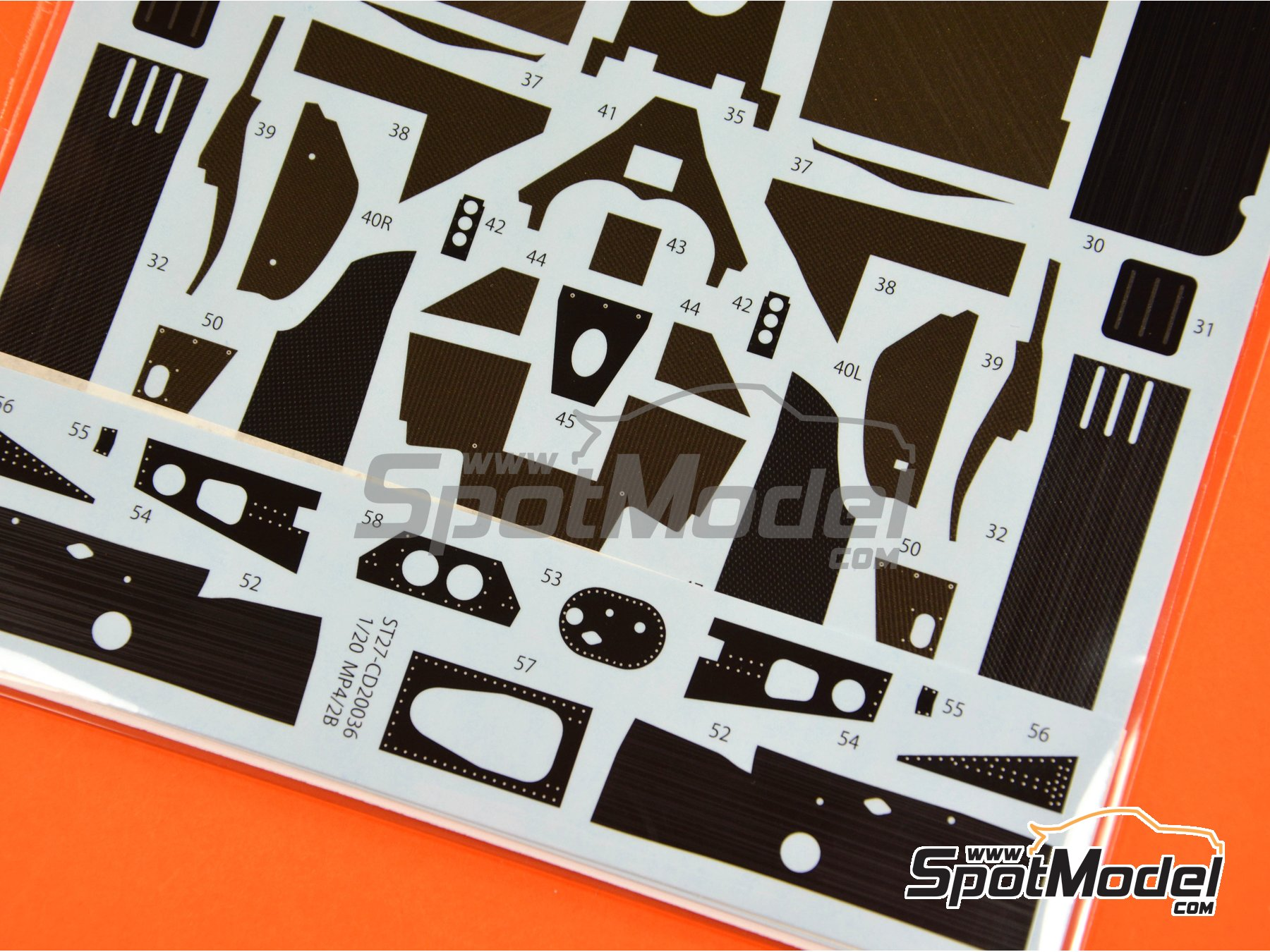 Image 5: McLaren MP4/2B TAG Porsche | Carbon fibre pattern decal in 1/20 scale manufactured by Studio27 (ref.ST27-CD20036)