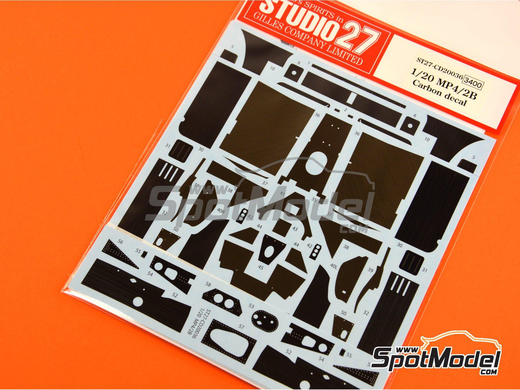 Image 6: McLaren MP4/2B TAG Porsche | Patron de fibra de carbono en calca en escala1/20 fabricado por Studio27 (ref.ST27-CD20036)