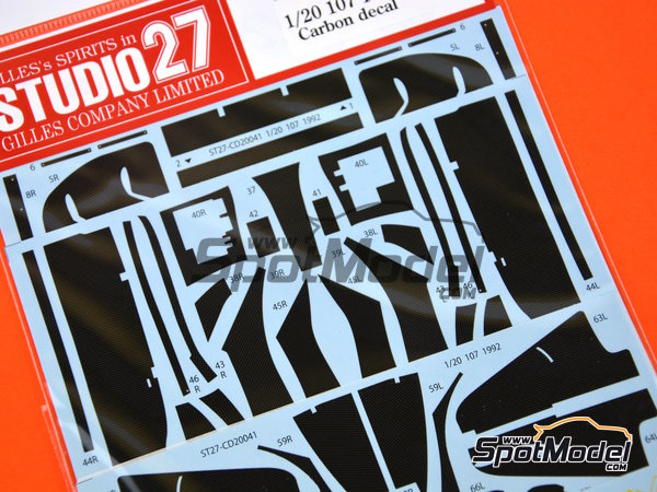Image 1: Lotus Ford 107 -  1992 | Carbon fibre pattern decal in 1/20 scale manufactured by Studio27 (ref. ST27-CD20041)